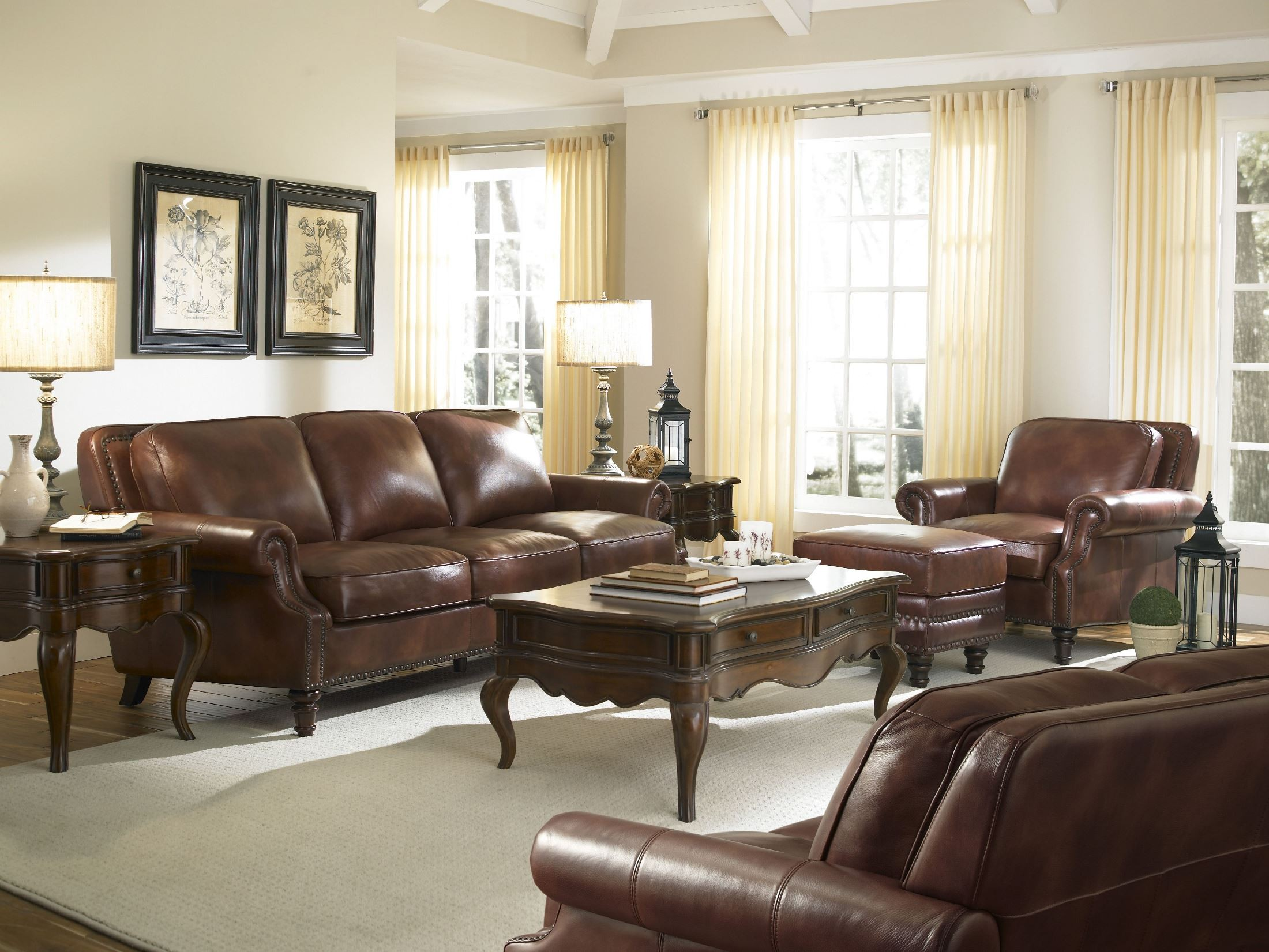 Bentley Rustic Savauge Leather Living Room Set From