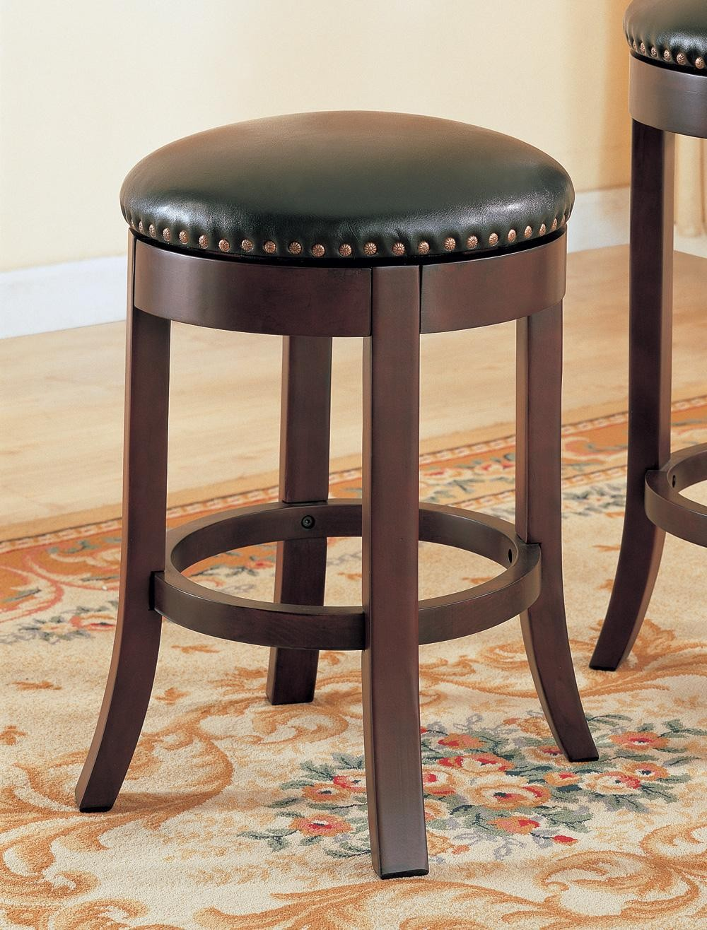 Wooden walnut quot bar stool set of from coaster