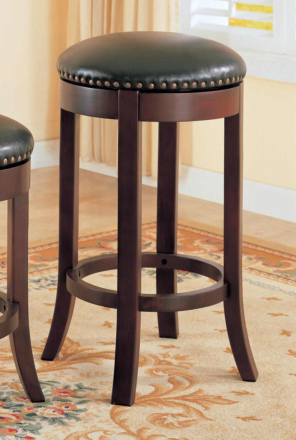 Wood Stools Product ~ Wooden walnut quot bar stool set of from coaster