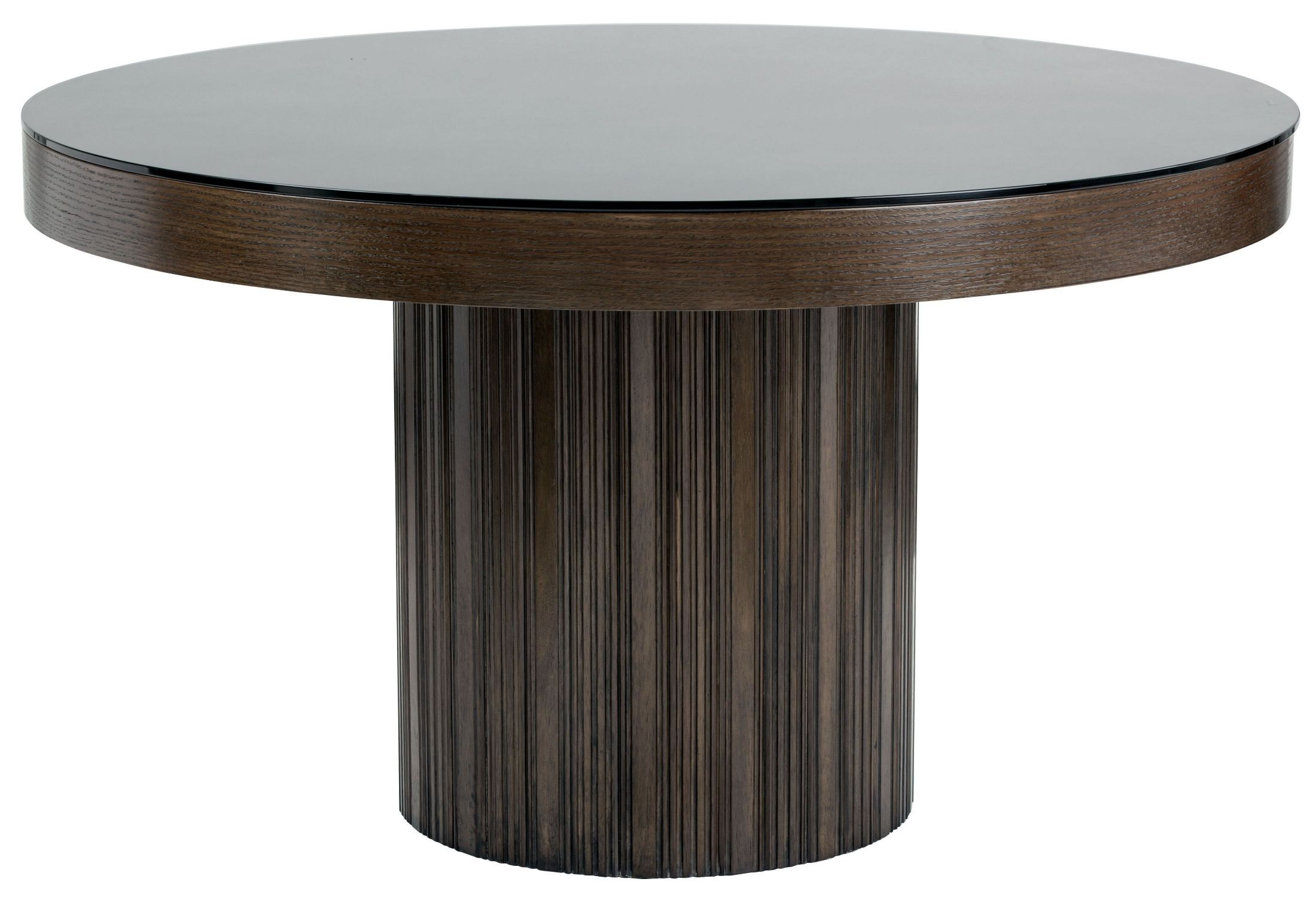 Jakarta round black glass top dining table from sunpan for Black glass dining table