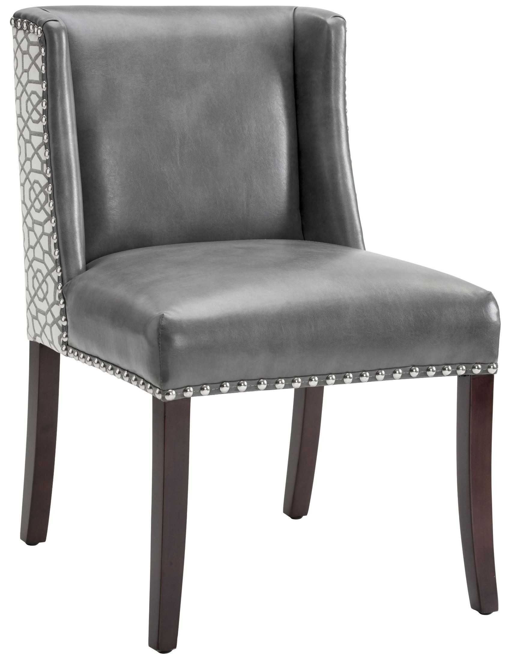 Marlin grey leather and diamond fabric dining chair set of for Leather seat dining chairs