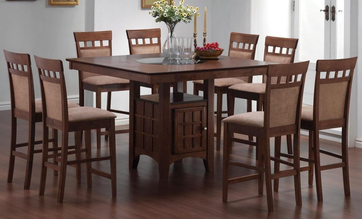 Mix match walnut counter height dining room set from for Dining room sets with matching bar stools