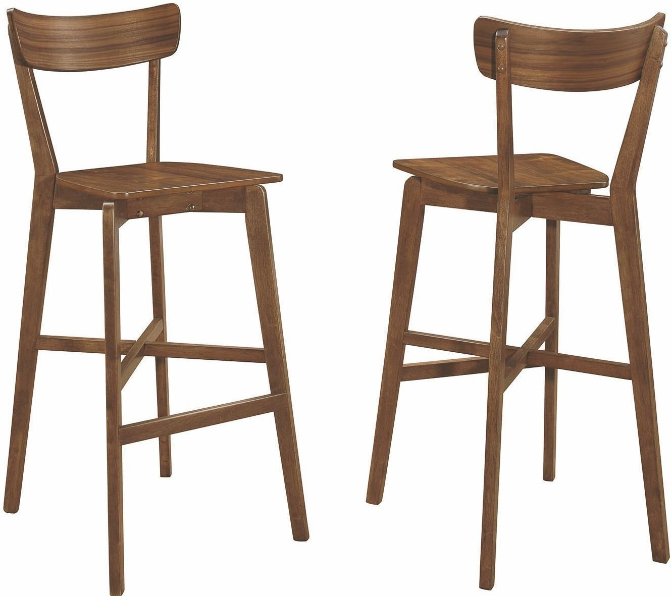 Walnut Bar Stools: Rec Room Walnut Bar Stool Set Of 2, 101449, Coaster Furniture