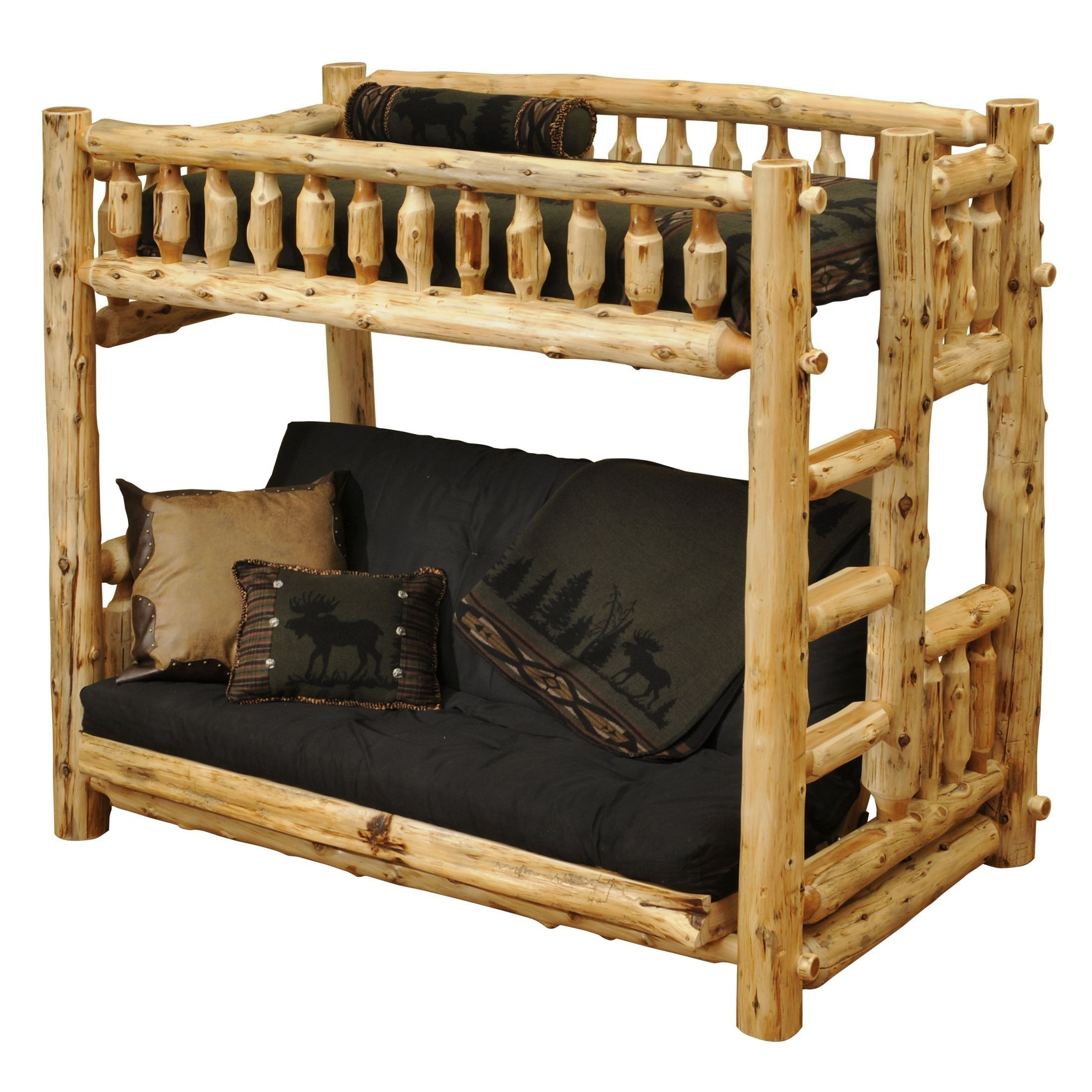 Traditional Cedar Futon Twin Right Ladder Log Bunk Bed