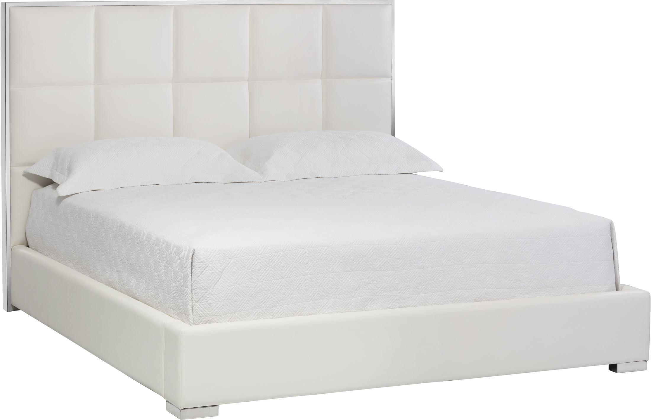 tompkins white leather king platform bed 101507 sunpan modern home. Black Bedroom Furniture Sets. Home Design Ideas