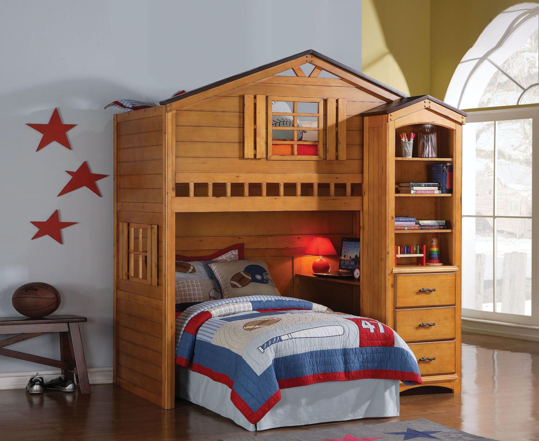 Tree House Rustic Oak Twin Loft Bed From Acme