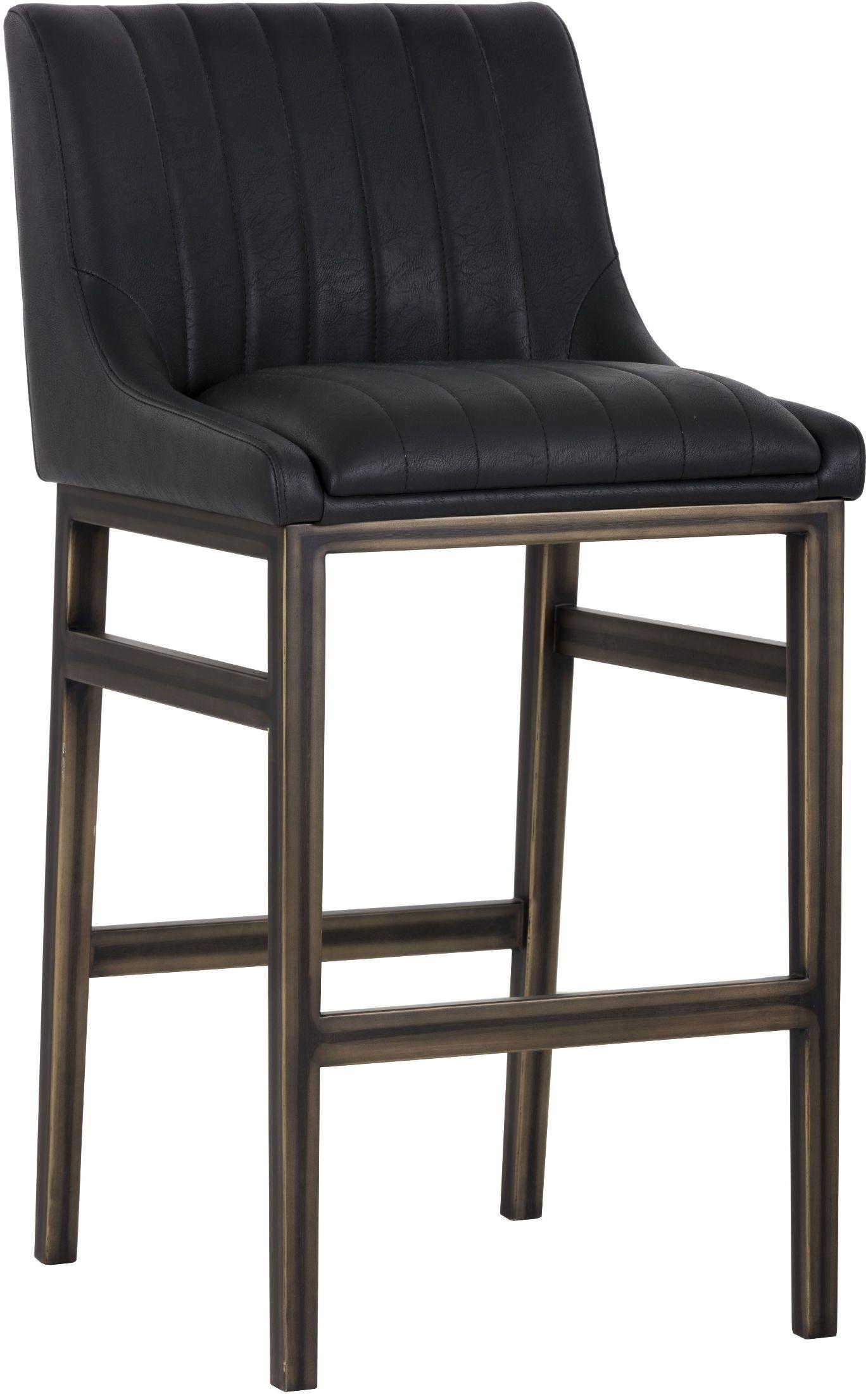 Halden Vintage Black Armless Barstool 101743 Sunpan