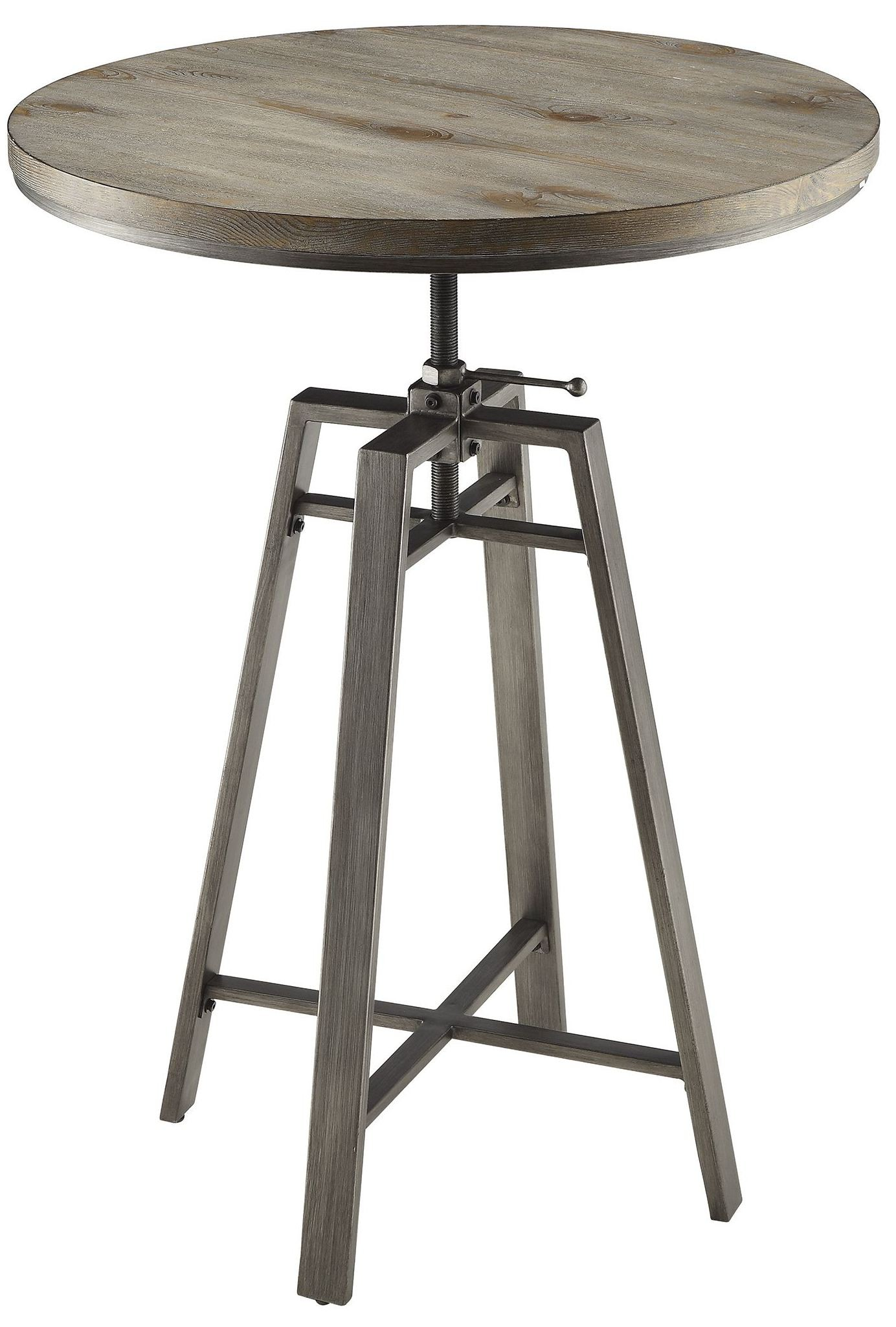 Wire Brushed Nutmeg Adjustable Bar Table From Coaster