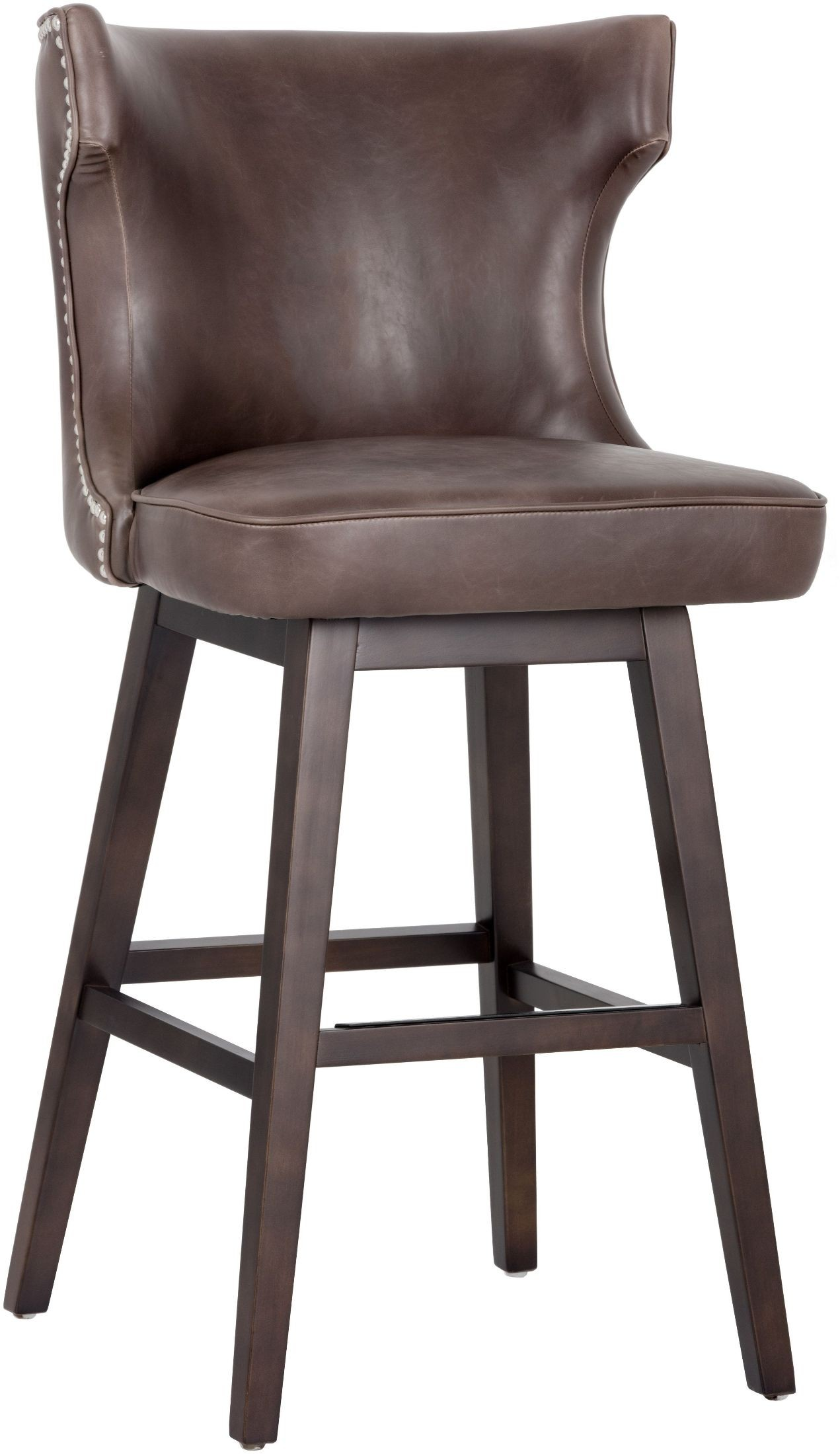 Neville Havana Dark Brown Swivel Barstool From Sunpan