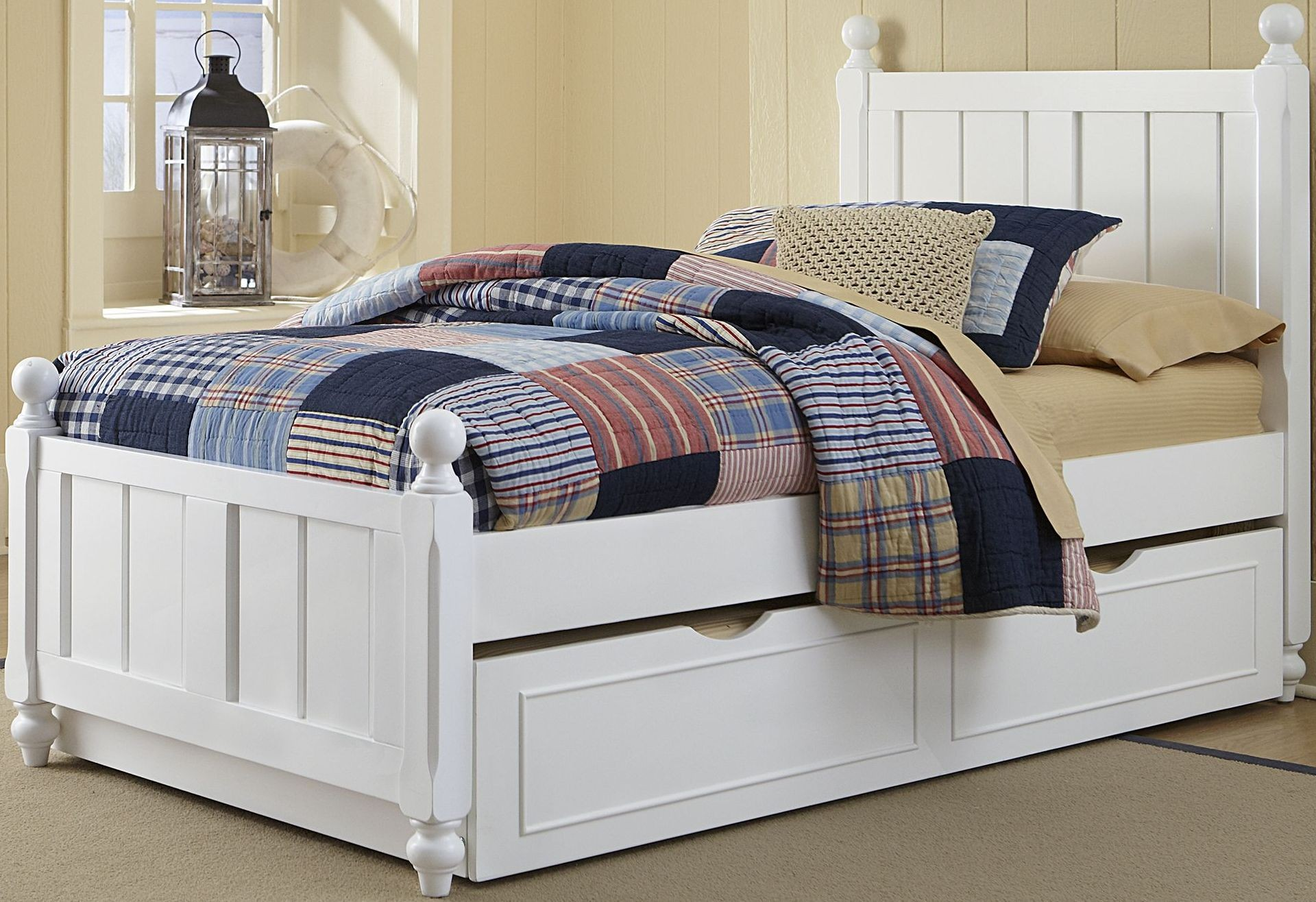 Lake House White Kennedy Twin Panel Bed With Trundle From