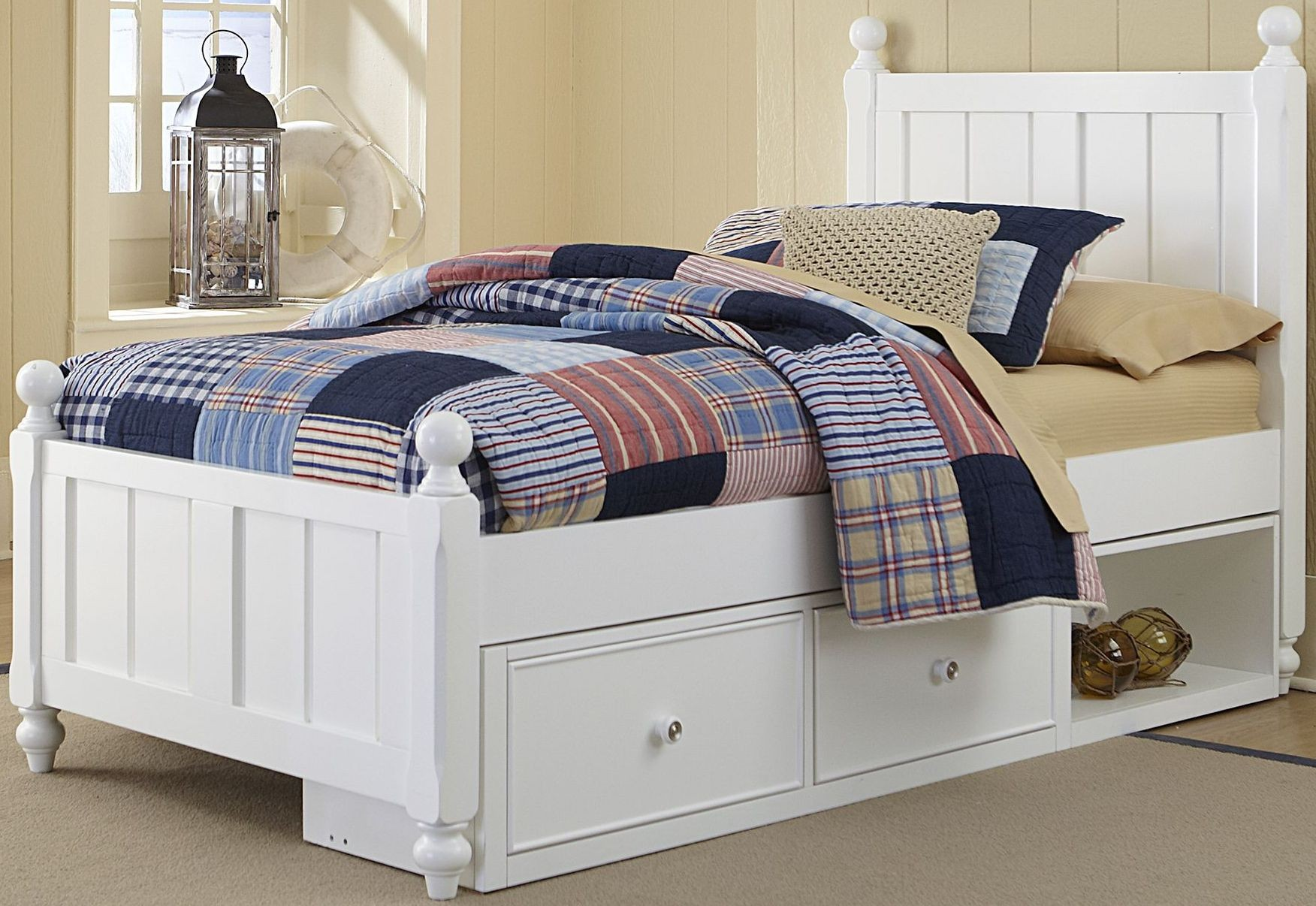 Details About White 3 Piece Storage Drawers Twin Bed Box: Lake House White Kennedy Twin Panel Bed With Storage From