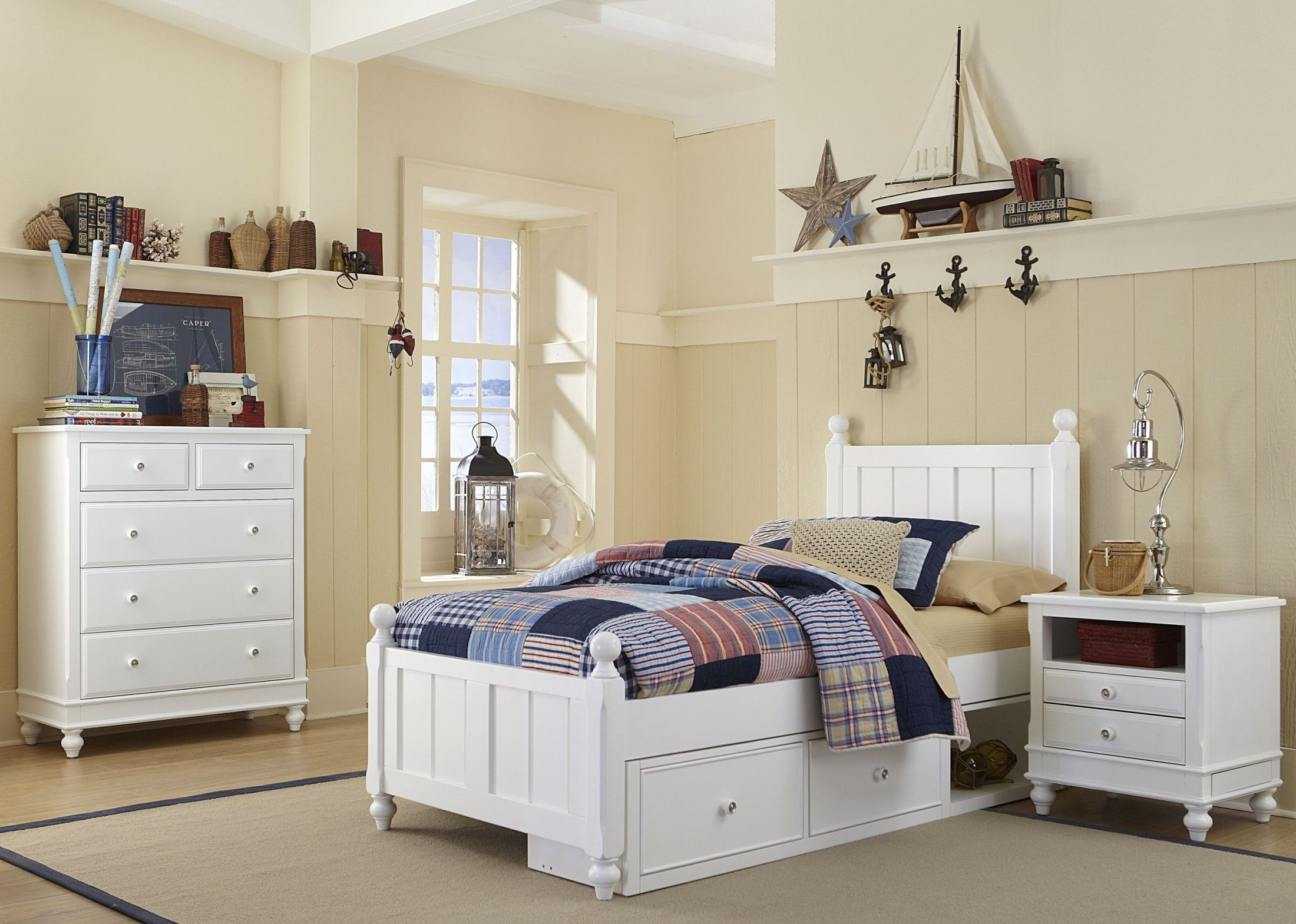 Lake house white kennedy youth panel bedroom set with storage from ne kids coleman furniture for Youth storage bedroom furniture