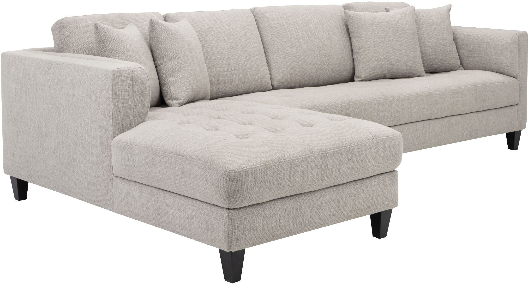 Arthur beige tweed upholstered laf sofa chaise from sunpan for Beige sectional with chaise