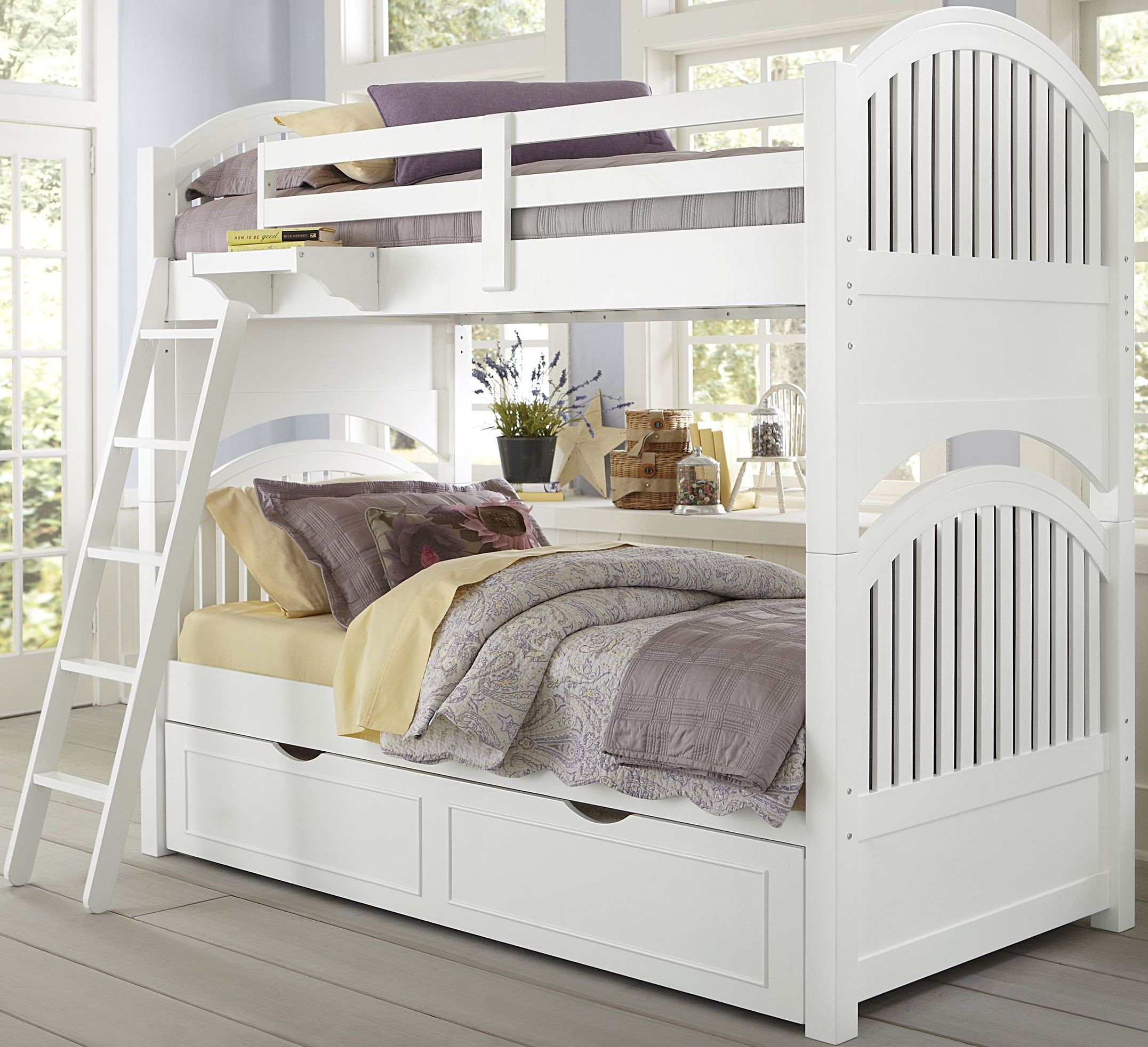 Lake house white adrain twin over twin bunk bed with trundle from ne kids coleman furniture White twin trundle bedroom set