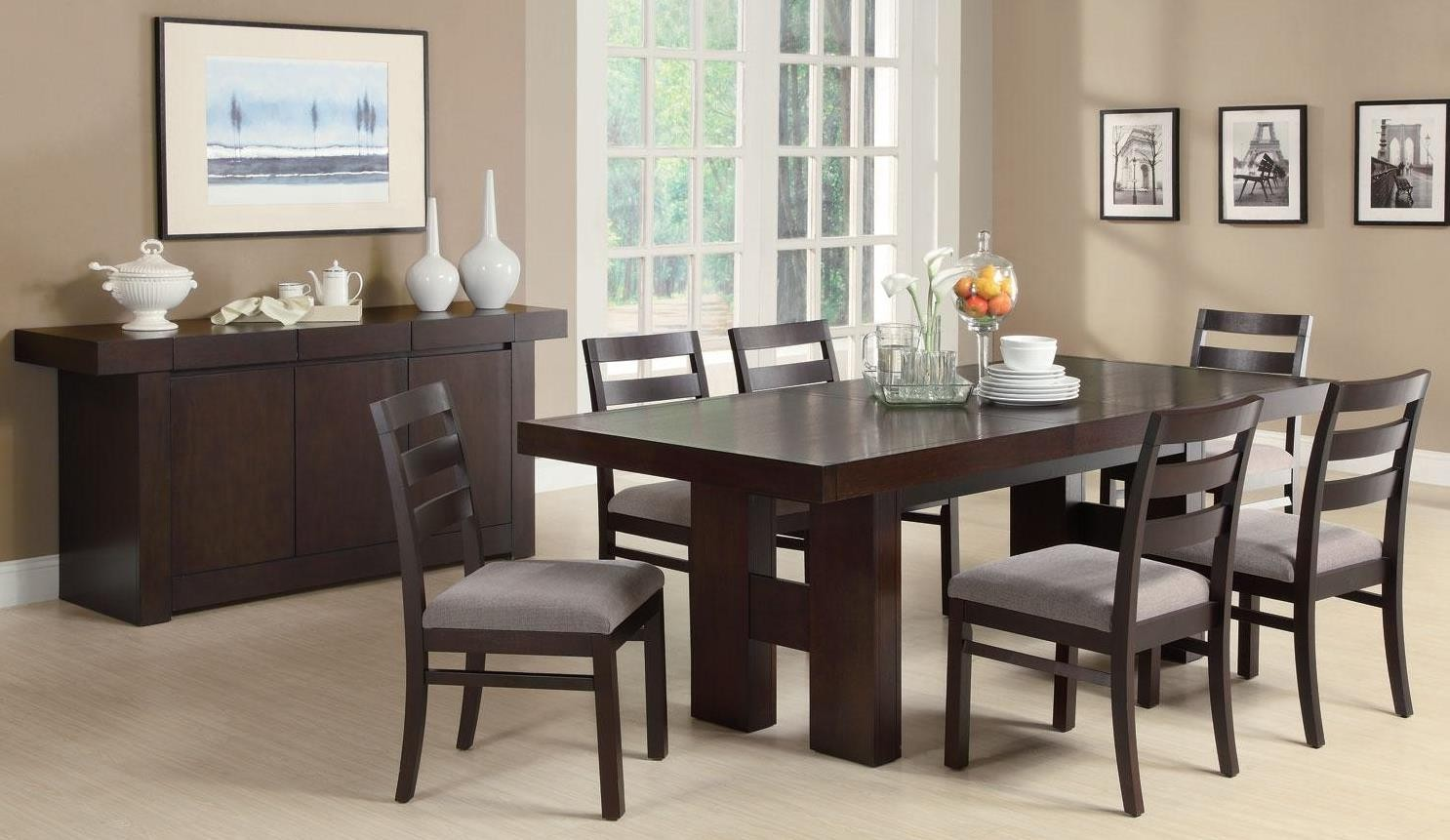 Dabny cappuccino rectangular extendable dining room set from coaster coleman furniture - Extending dining room sets ...