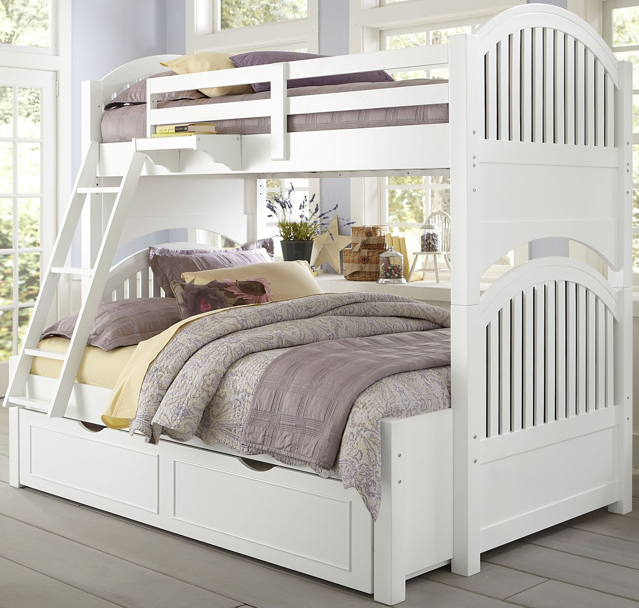 lake house white adrian twin over full bunk bed with trundle from ne kids coleman furniture. Black Bedroom Furniture Sets. Home Design Ideas