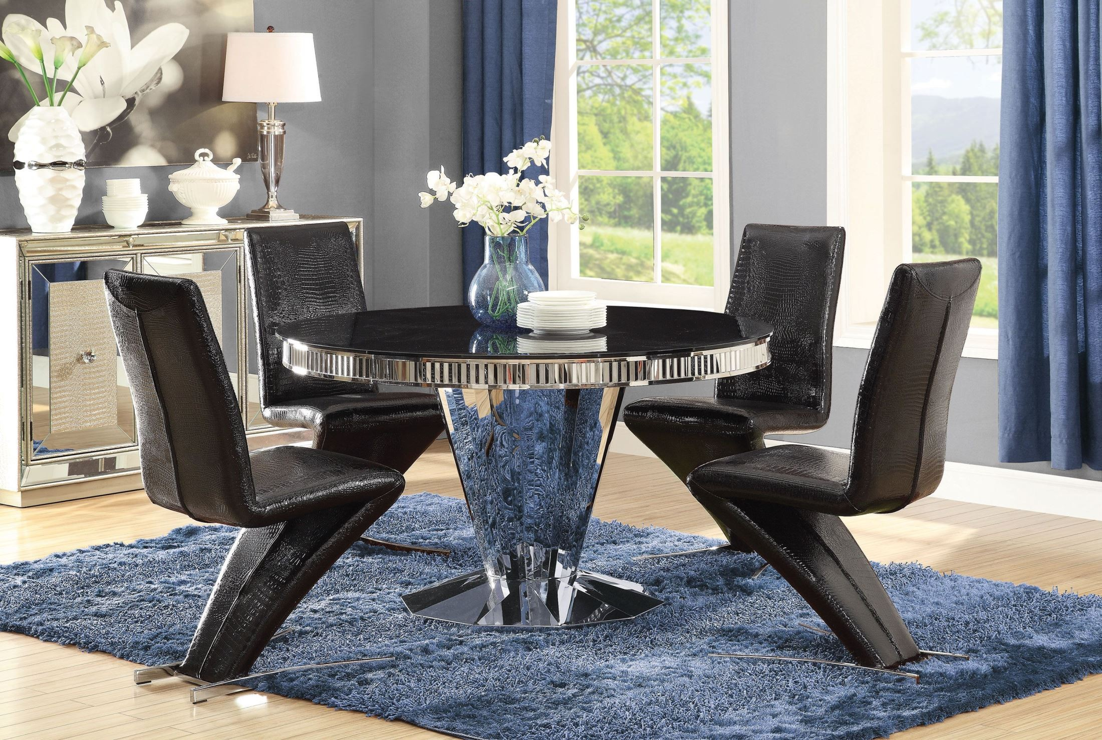 Barzini Stainless Steel Dining Room Set. Coaster Furniture