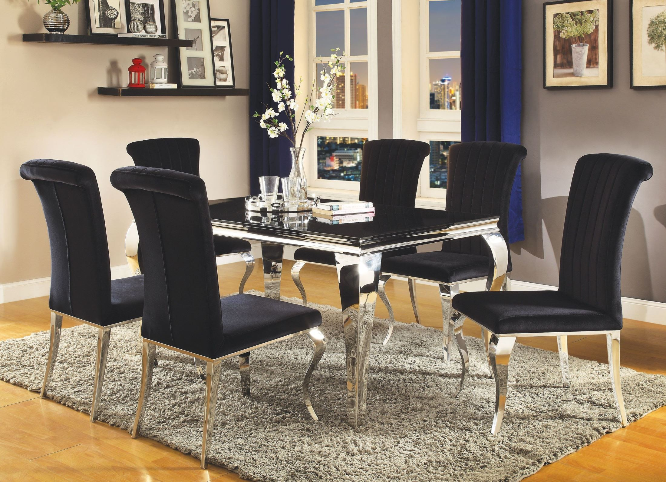 carone stainless steel dining room set from coaster coleman carone stainless steel dining room set
