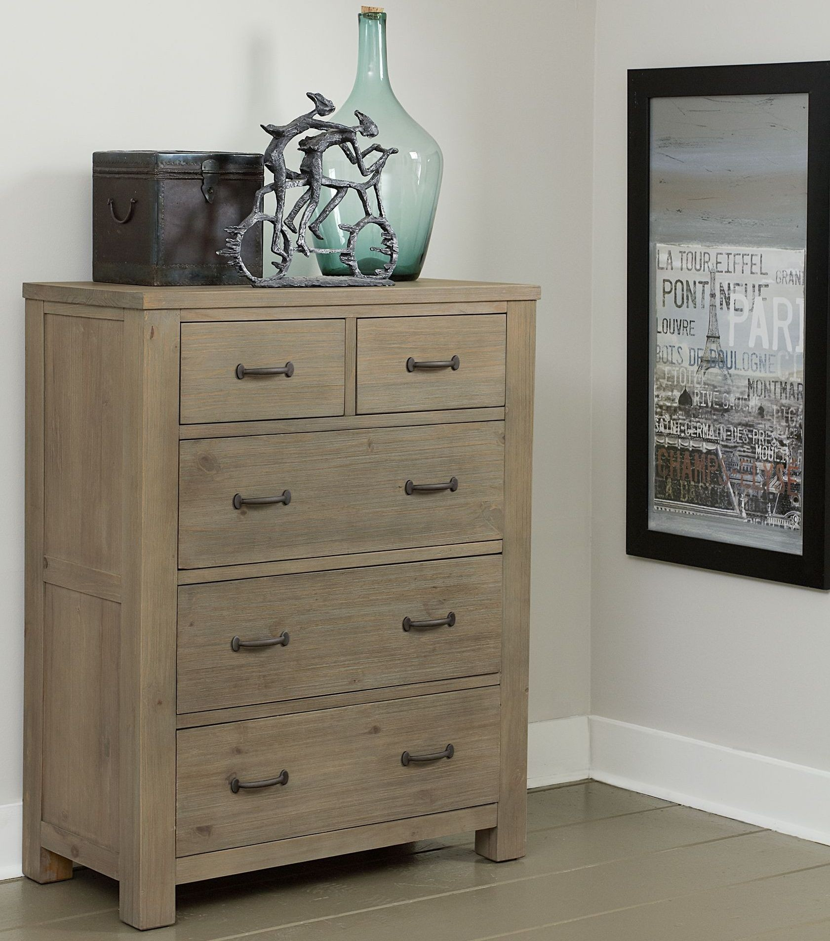 Highlands Bailey Driftwood Upholstered Youth Panel Bedroom Set From NE Kids