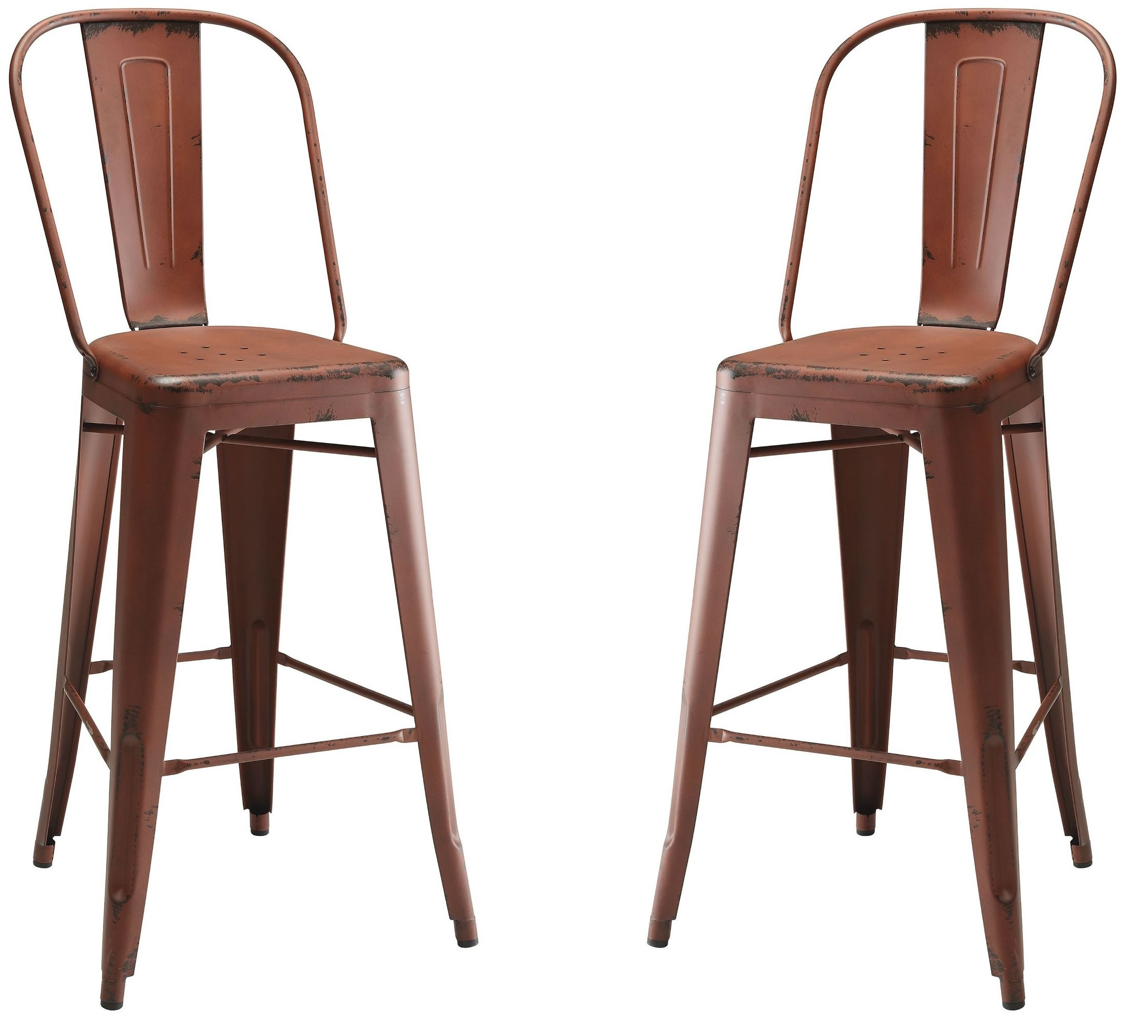 Red Metal Bar Stool Set Of 2 From Coaster Coleman Furniture
