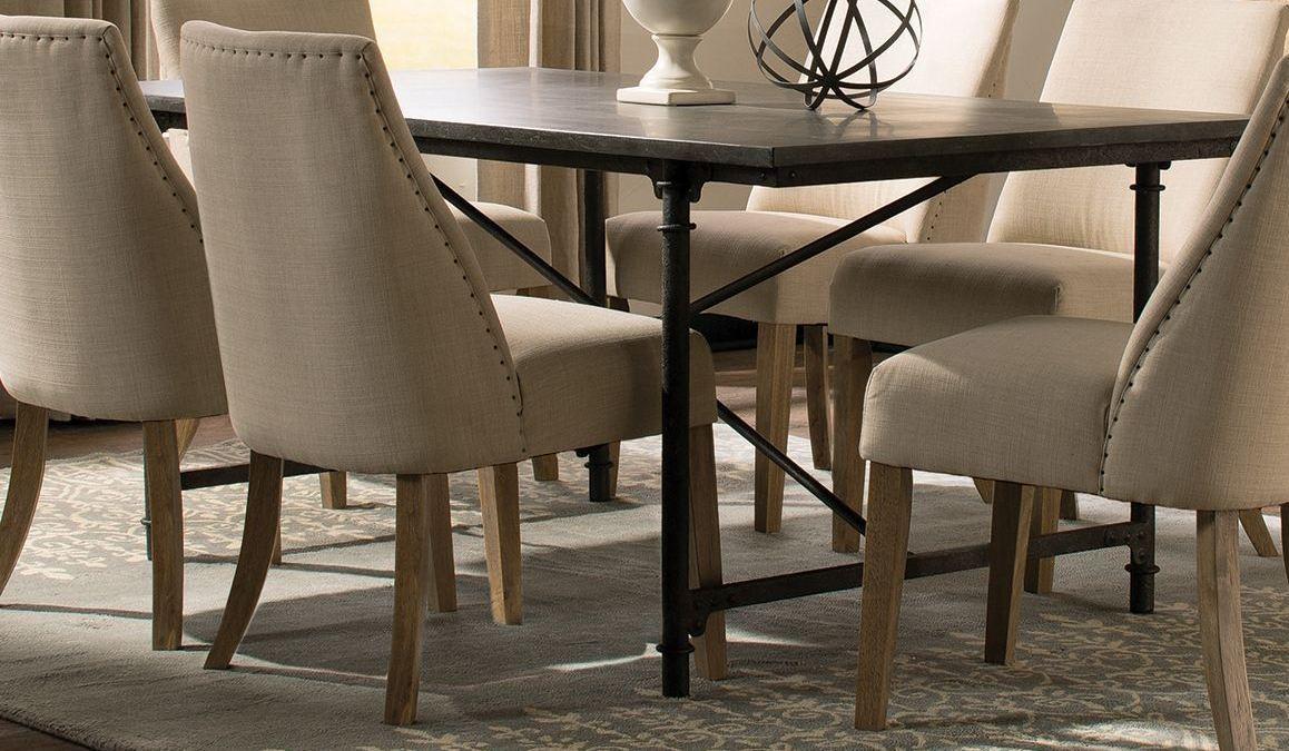 Antonelli Blue Stone And Metal Rectangular Dining Room Set