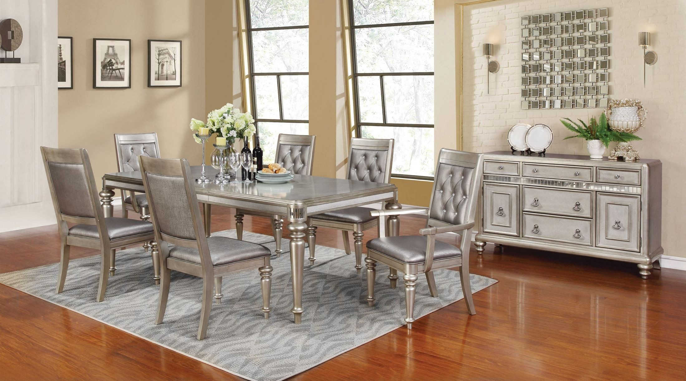 Great Coaster Furniture. 1669336. Danette Metallic Platinum Rectangular Dining  Room Set764679