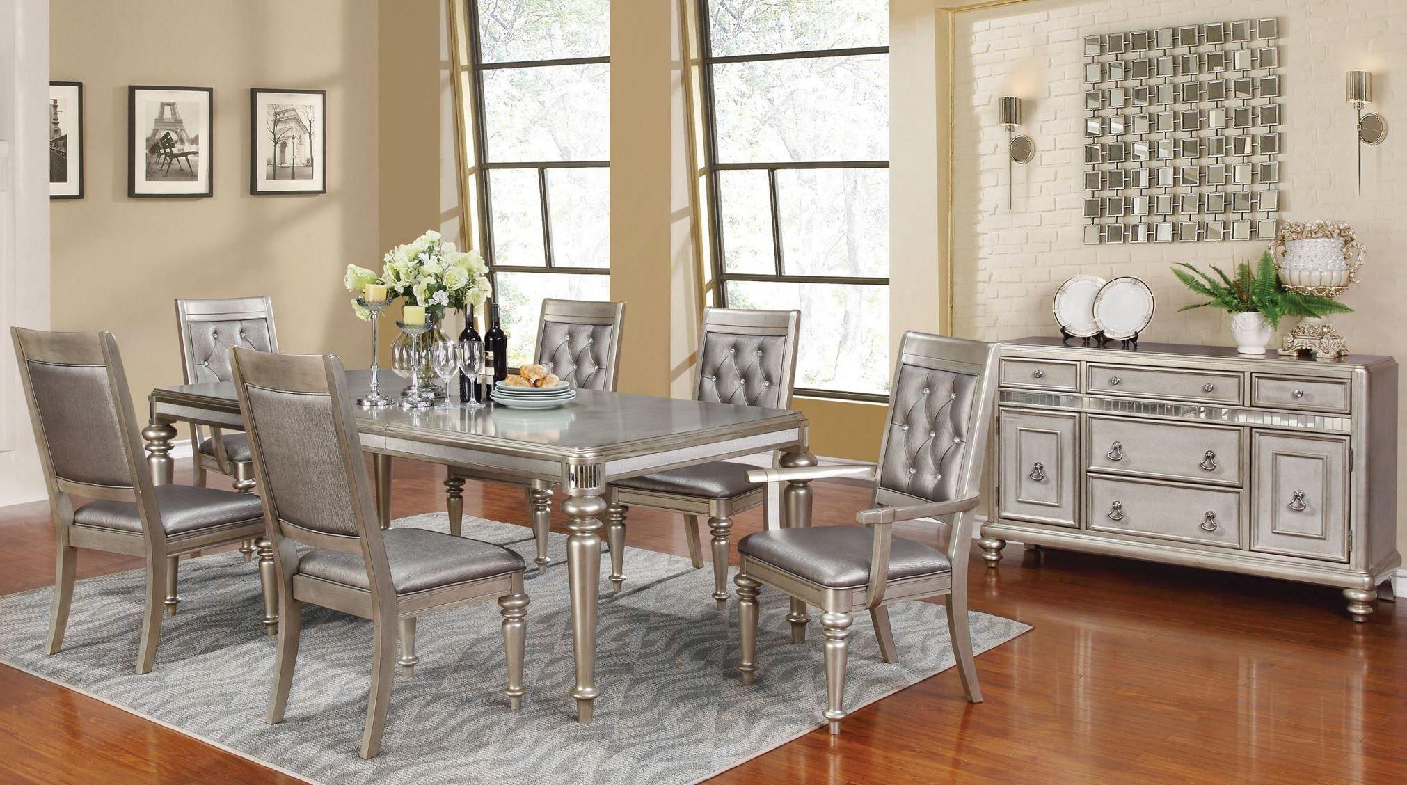 Danette Metallic Platinum Rectangular Extendable Dining Room Set Coaster Furniture 1669336