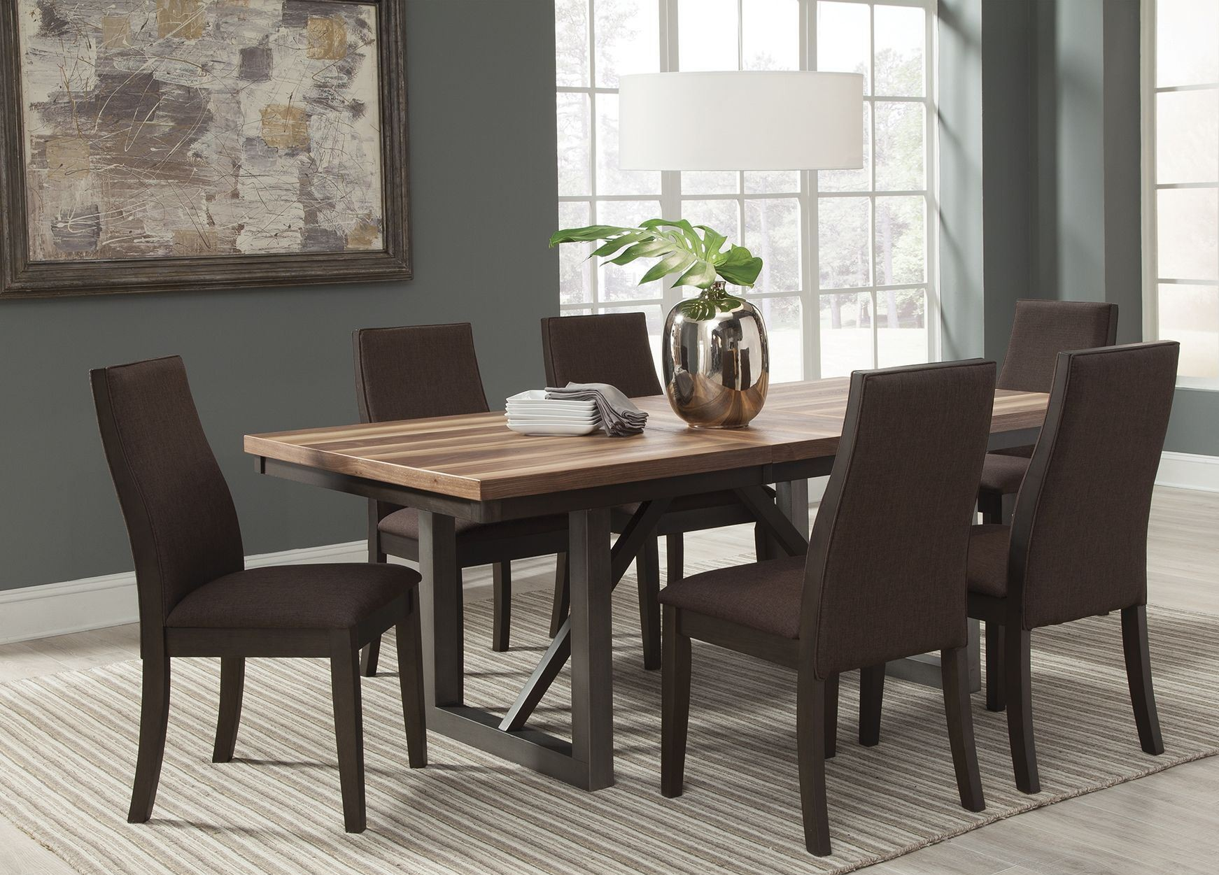espresso dining room sets | Spring Creek Brown Espresso Extendable Dining Room Set ...