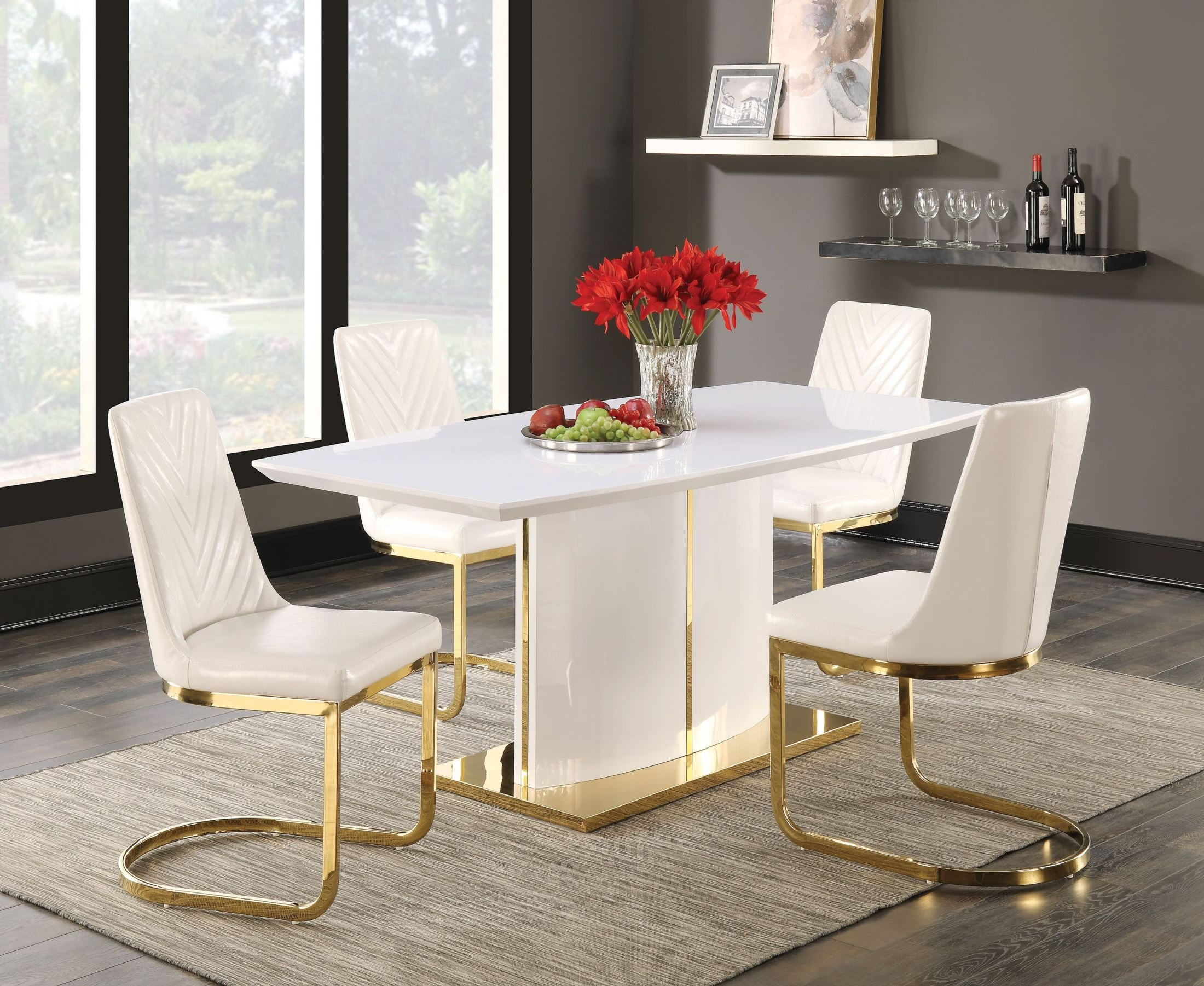 Cornelia High Gloss White Dining Room Set From Coaster