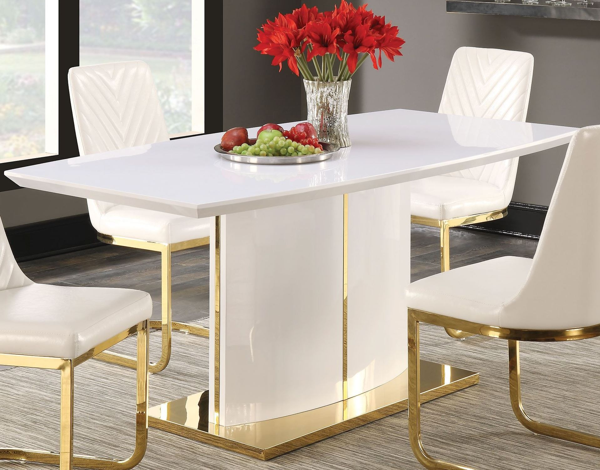 cornelia high gloss white dining table from coaster coleman furniture. Black Bedroom Furniture Sets. Home Design Ideas