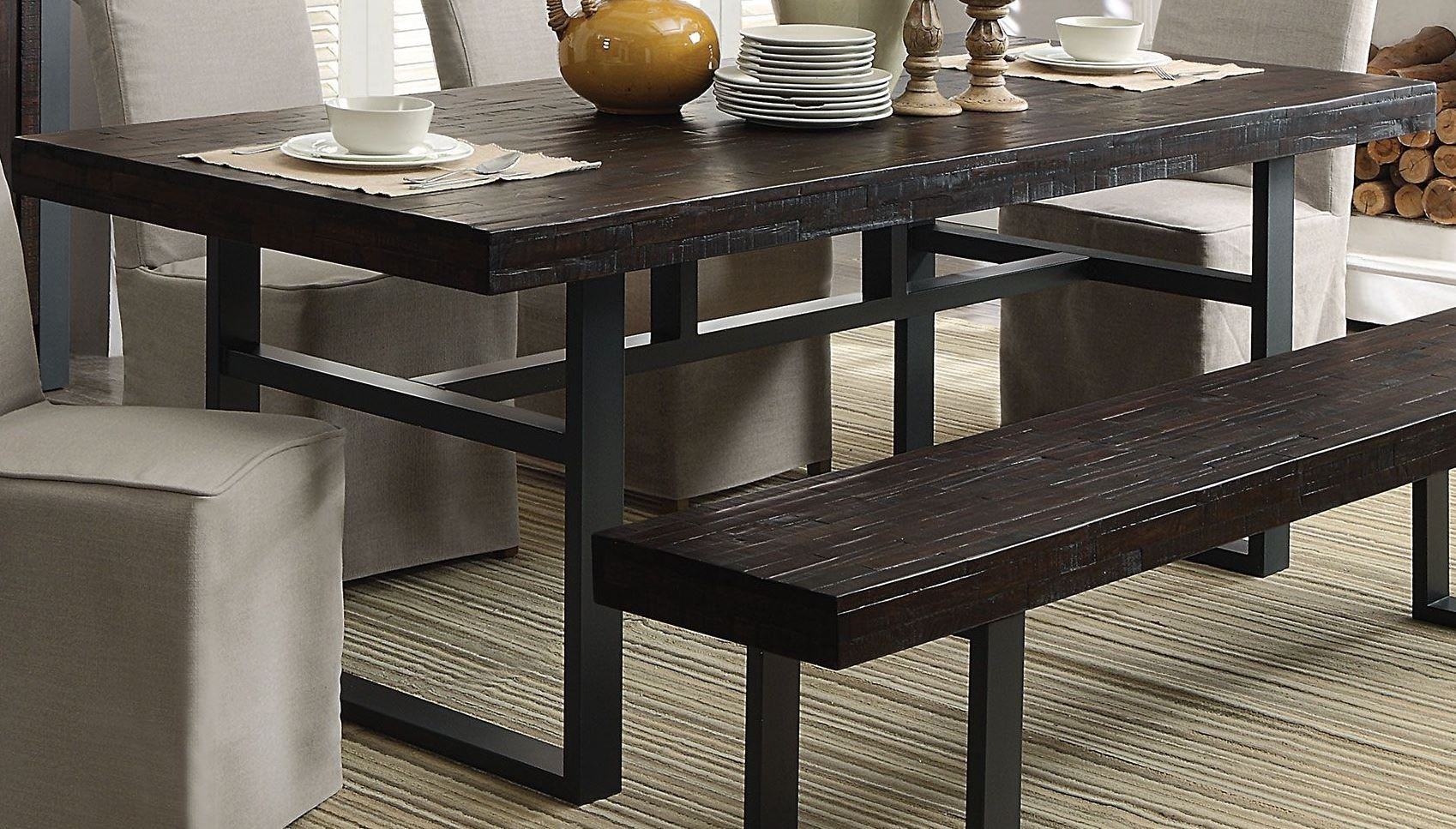 keller reclaimed wood dining table from coaster coleman furniture. Black Bedroom Furniture Sets. Home Design Ideas