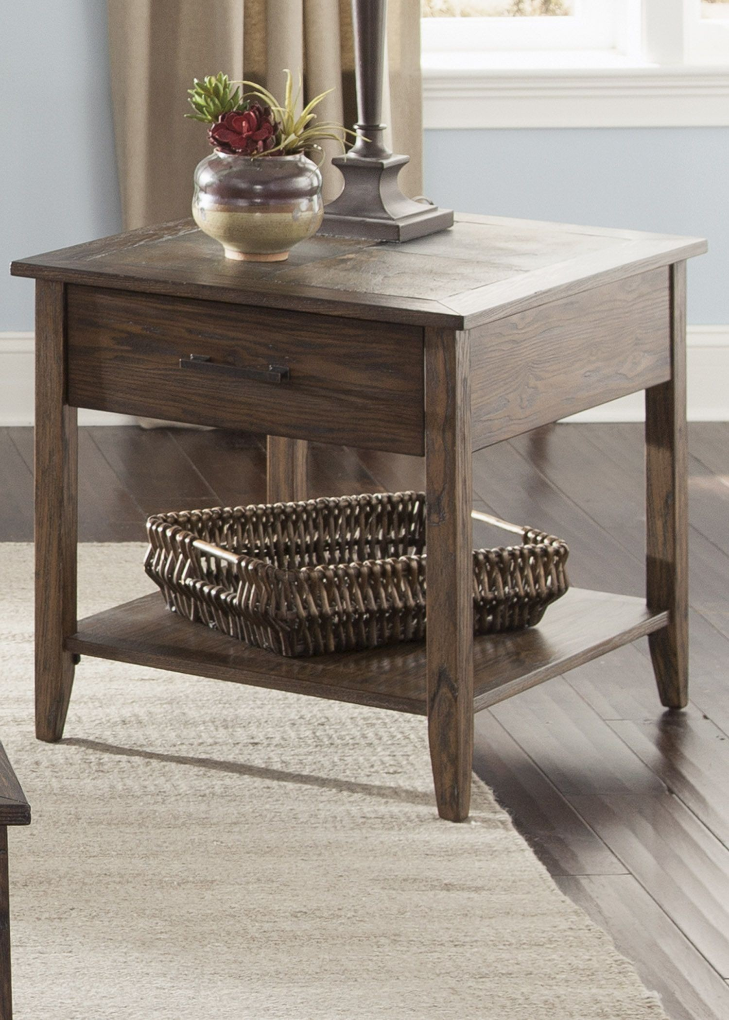 Brookstone Weathered Oak End Table From Liberty 107