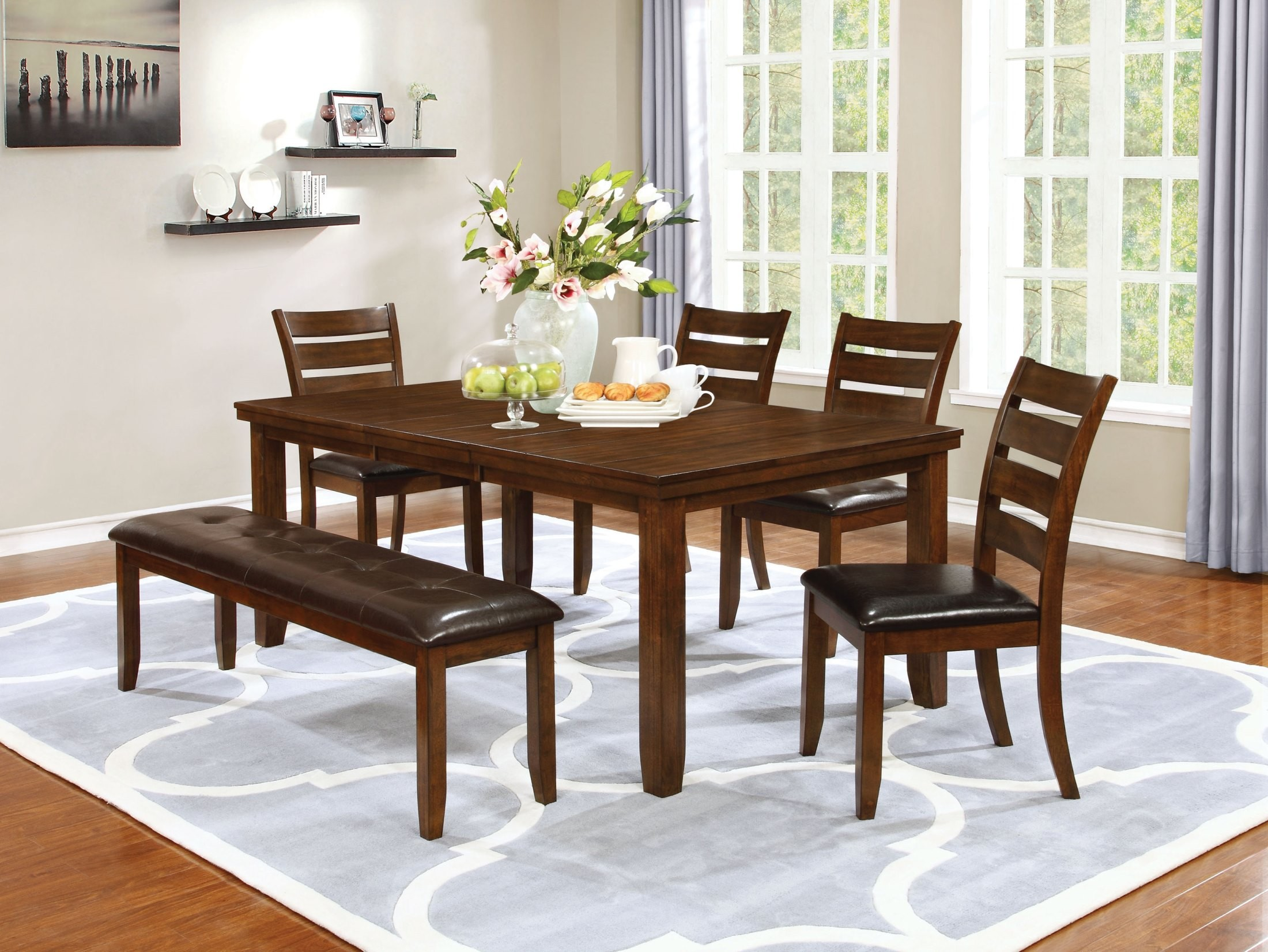 Maxwell golden brown dining room set from coaster for Brown dining room set