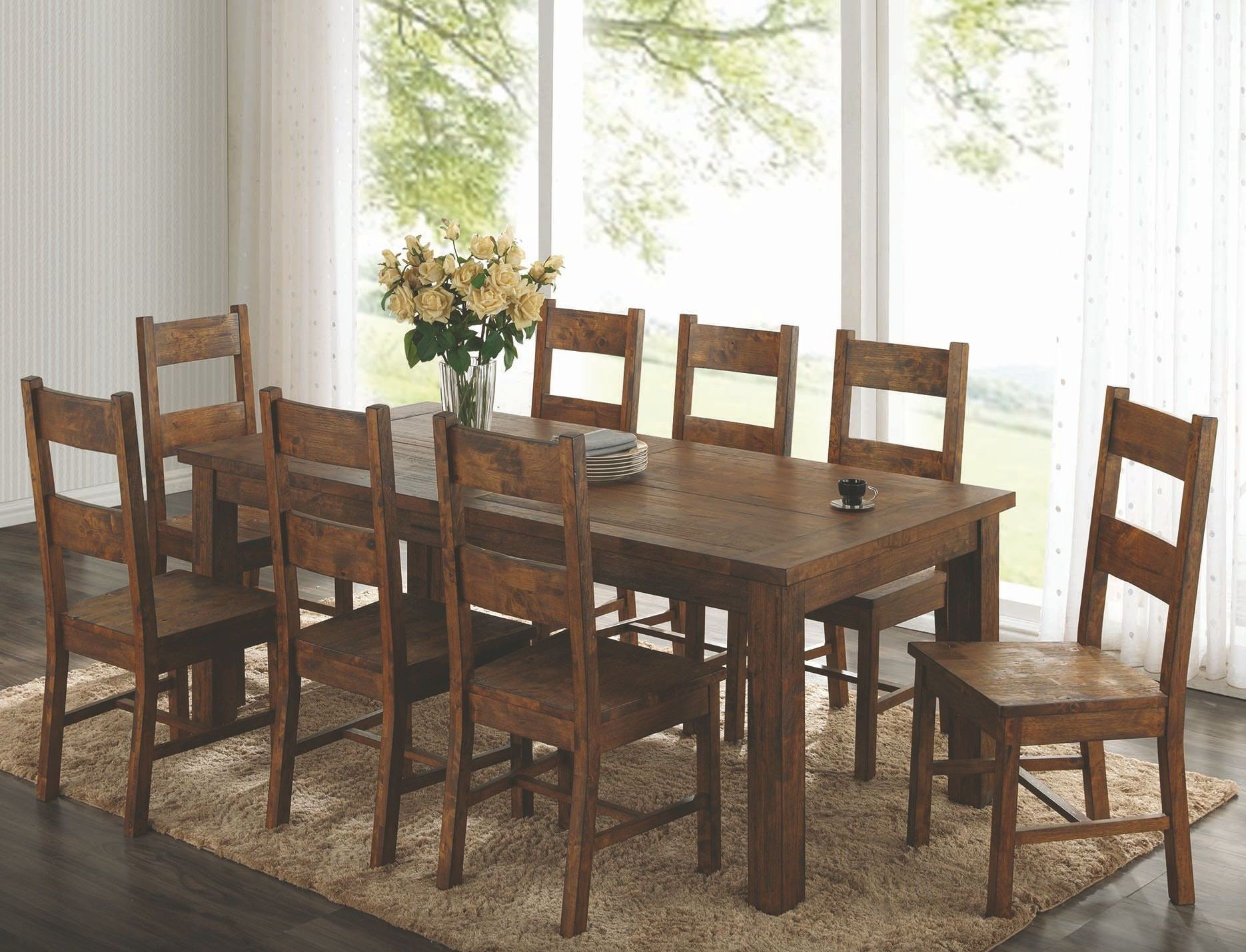 Coleman rustic golden brown rectangular dining room set for Rustic dining room sets