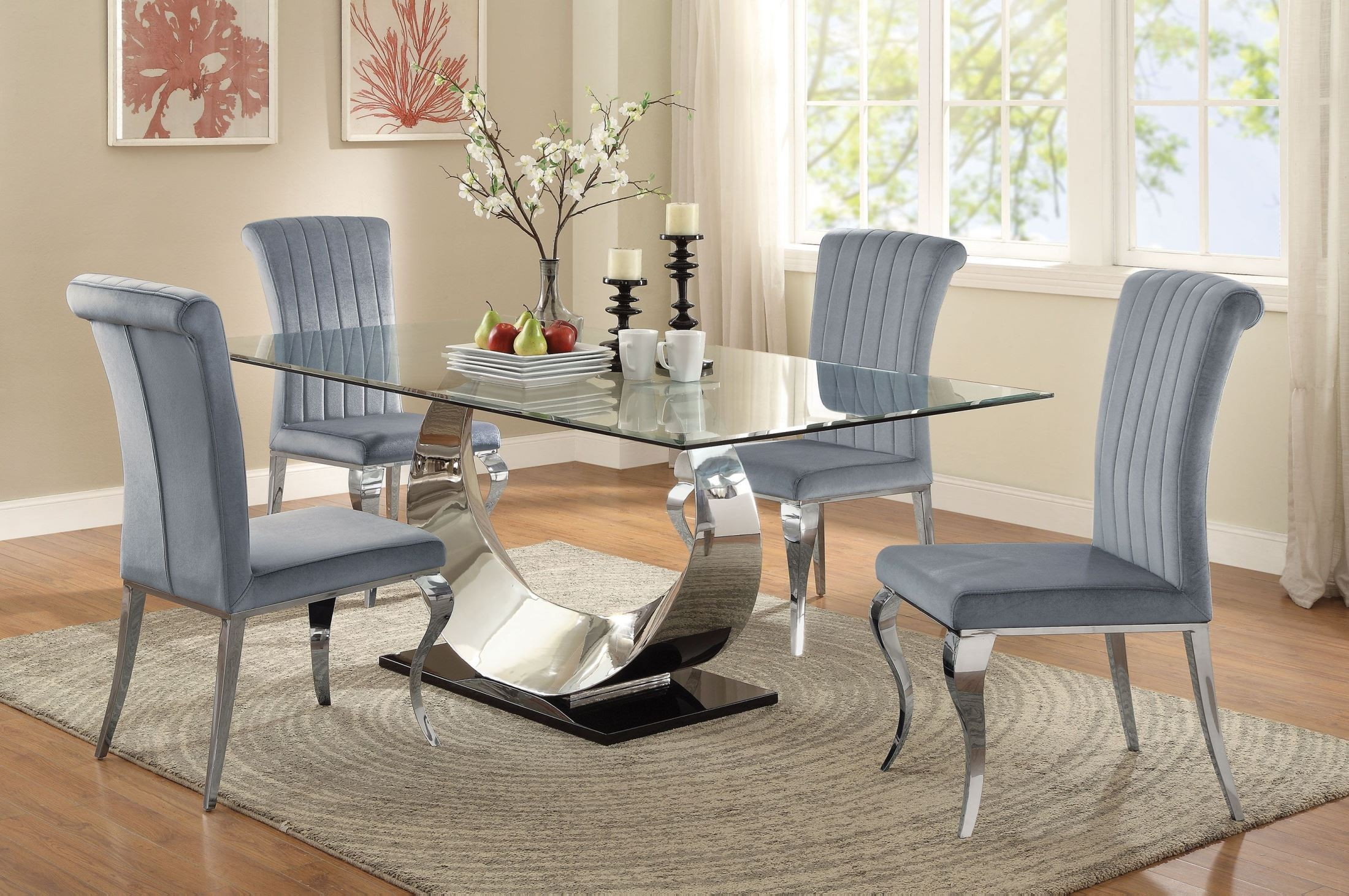 Perfect Manessier Chrome Dining Room Set. Coaster Furniture