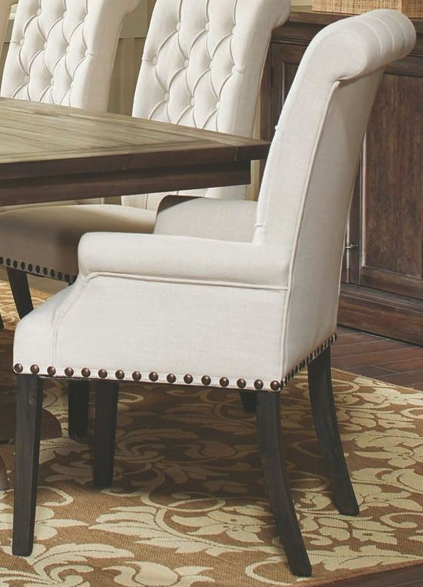 cream upholstered chair weber cream upholstered arm chair from coaster coleman 13626 | 107283
