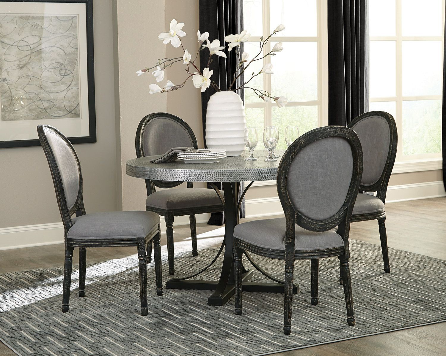 Rochelle Zinc Round Dining Room Set By
