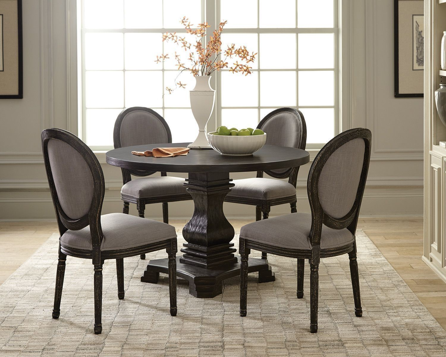 Dayton Antique Black Round Dining Room Set By Scott Living From Coaster Coleman Furniture