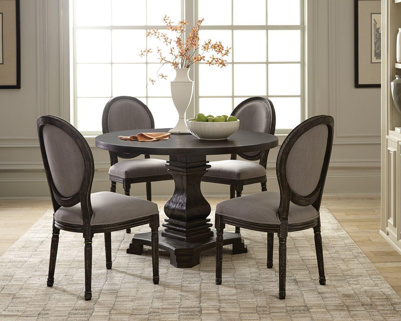 Dayton antique black round dining room set by scott living