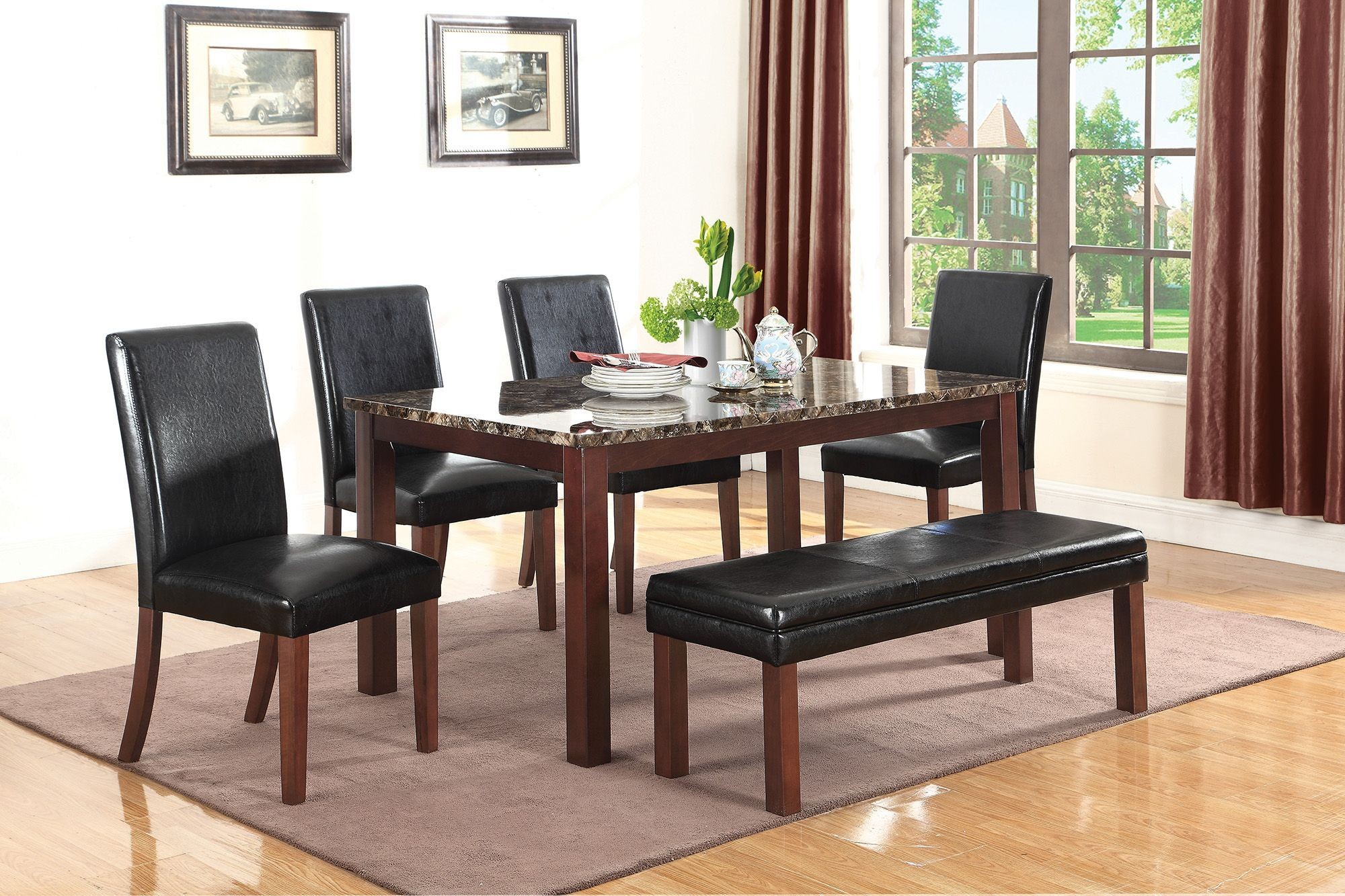Otero dark brown dining room set from coaster coleman for Dark brown dining room