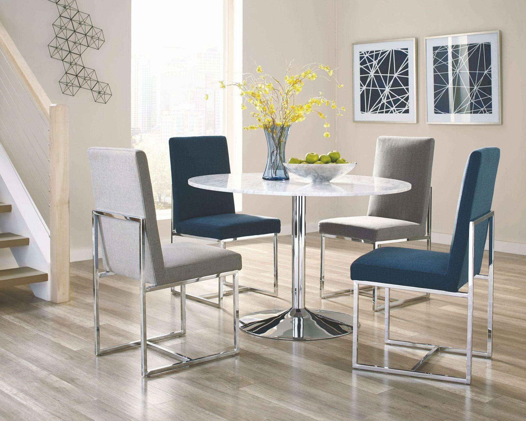 Mackinnon White Carrara Marble Round Dining Room Set from Coaster ...