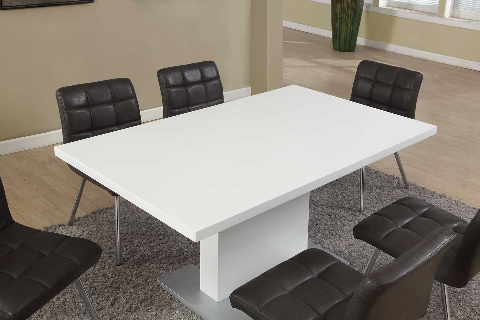 High Glossy White Dining Table From Monarch 1090