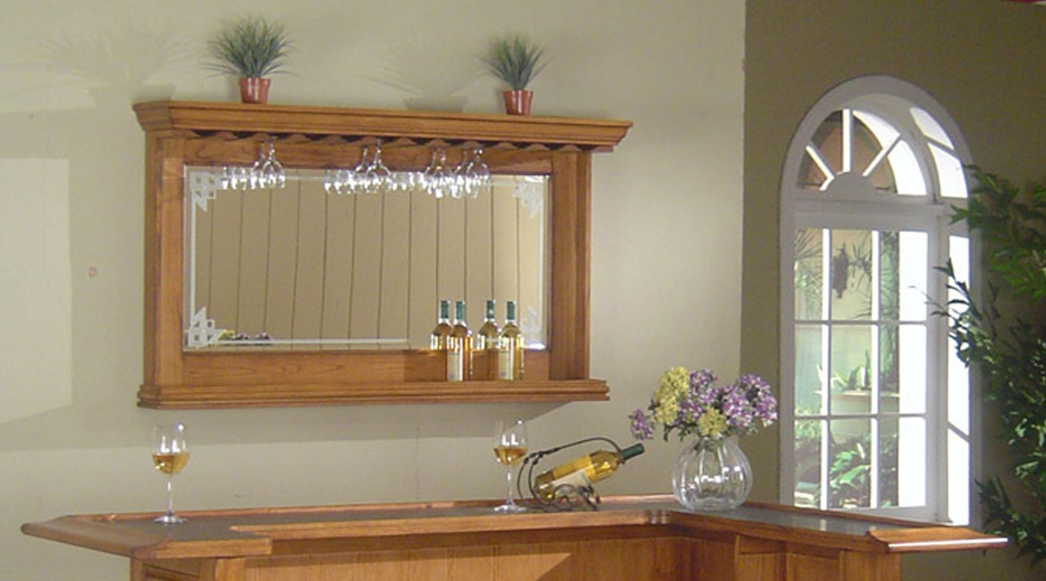 Oak bar mirrors with shelves - Burnished Oak Bar Mirror