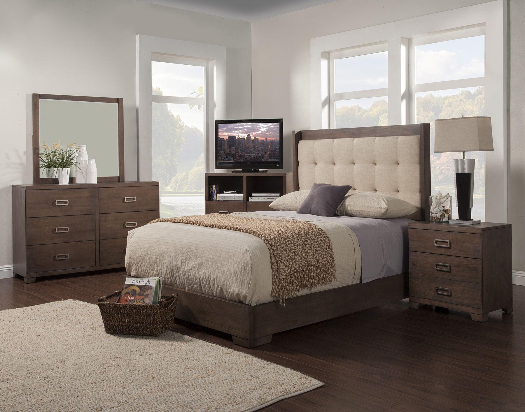 savannah pecan tufted platform bedroom set from alpine coleman furniture