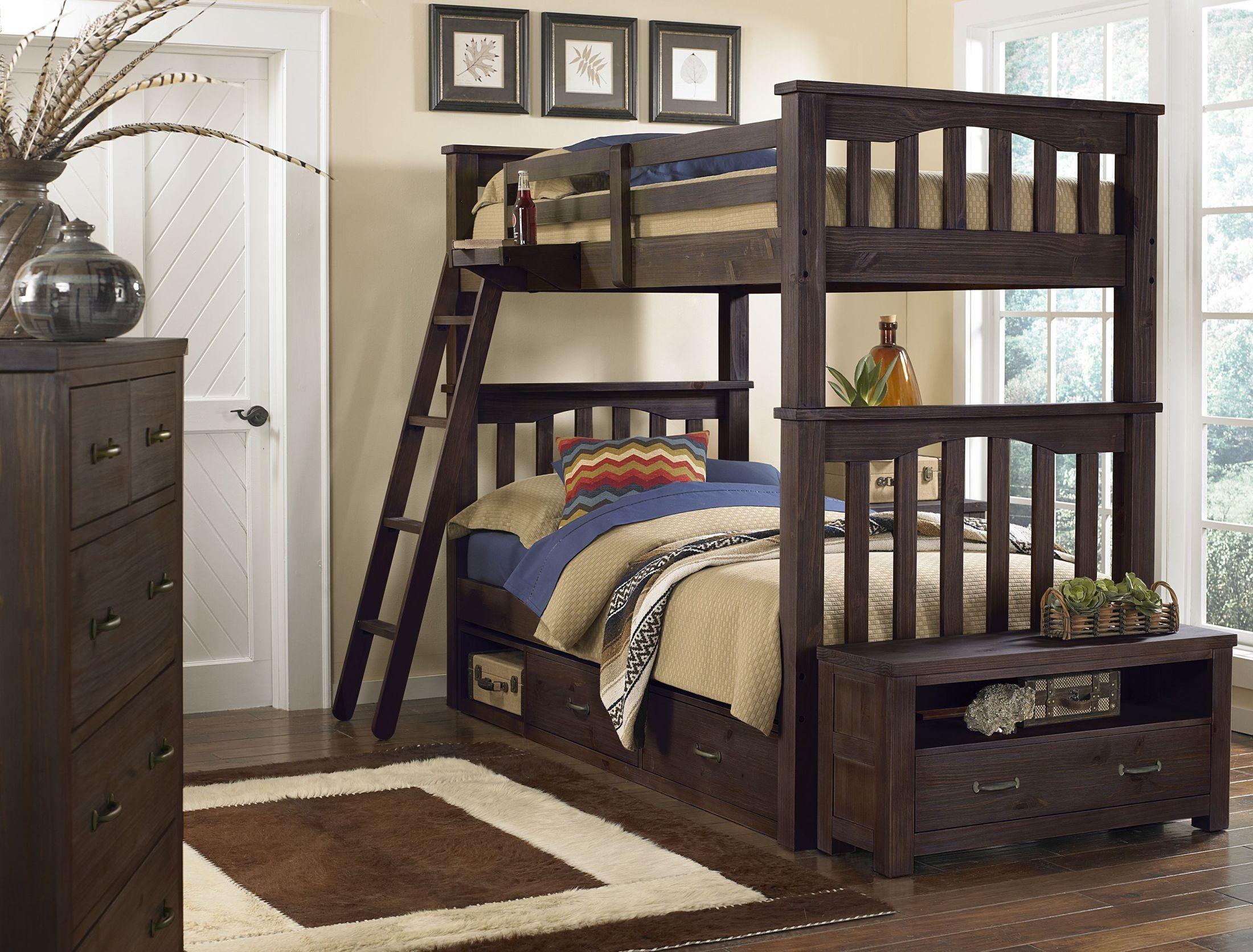 Highlands harper espresso youth storage bunk bedroom set - Youth bedroom furniture with storage ...