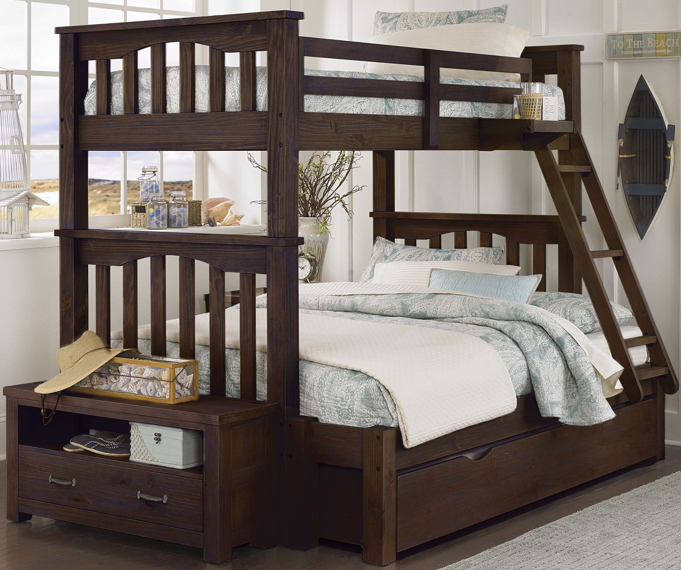 highlands harper espresso twin over full bunk bed with trundle 11055nt ne kids. Black Bedroom Furniture Sets. Home Design Ideas