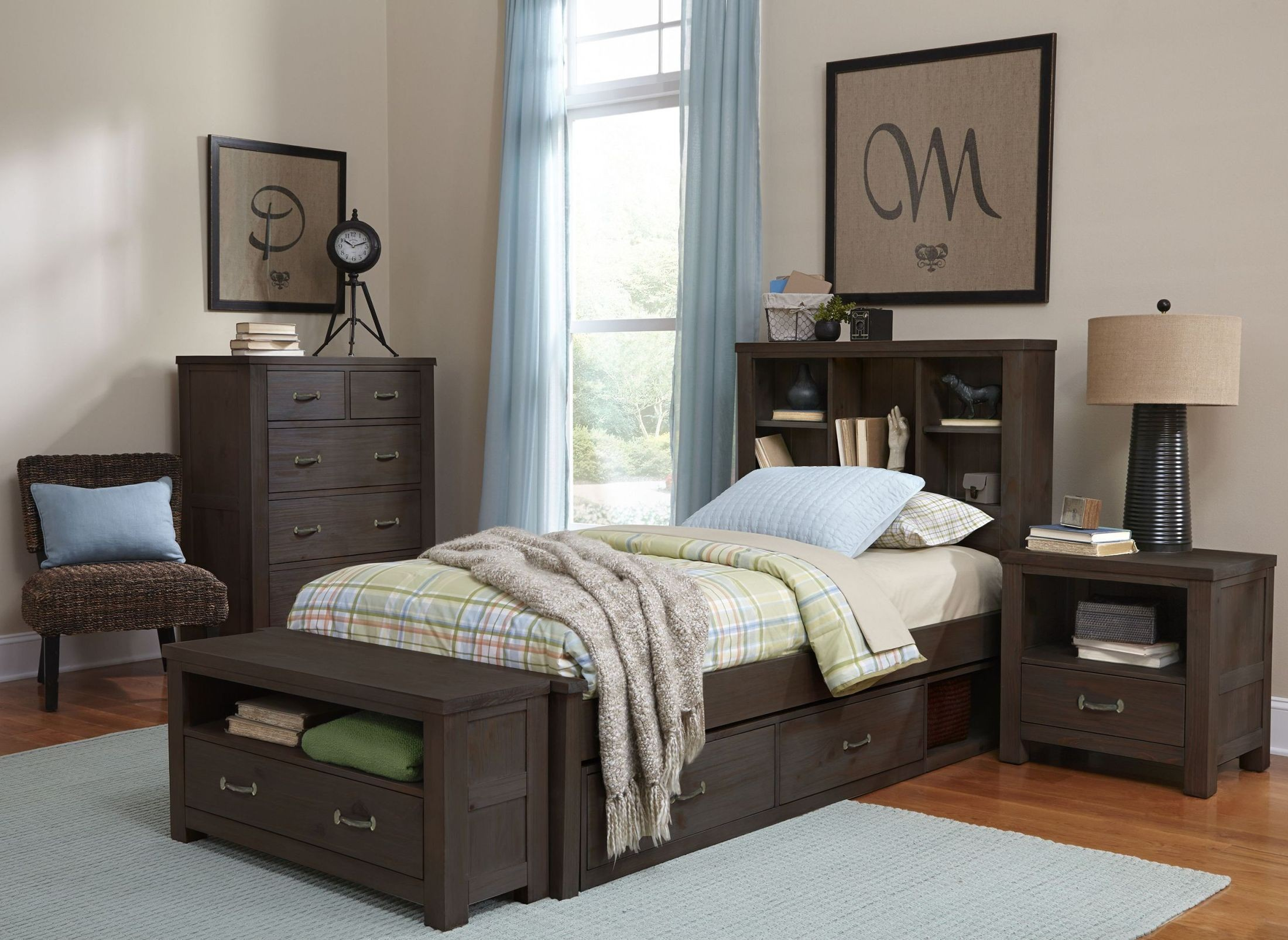 highlands espresso bookcase youth storage bedroom set from