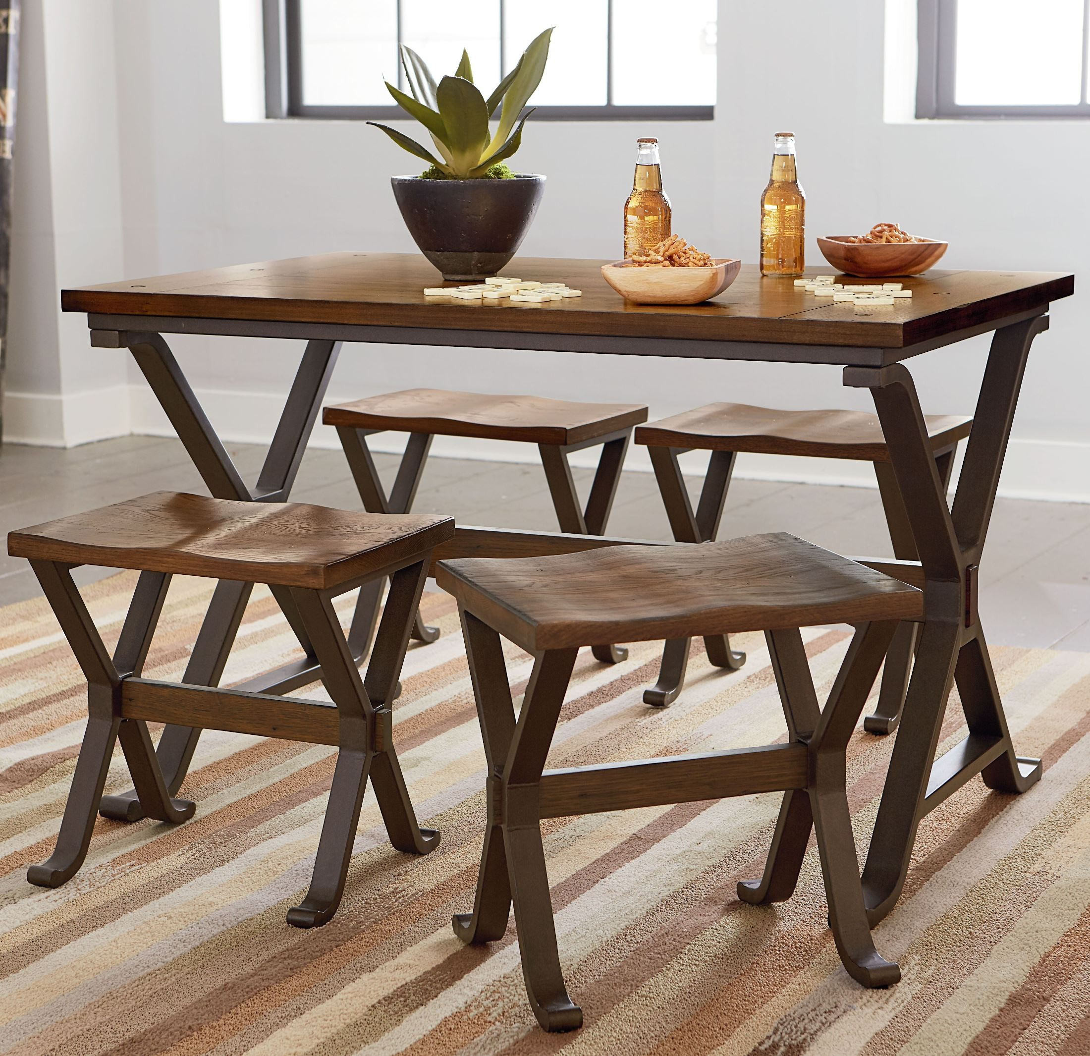 Standard Furniture Cambria Rectangular White Wood And: Reynolds Rustic Tobacco Brown Rectangular Trestle Dining