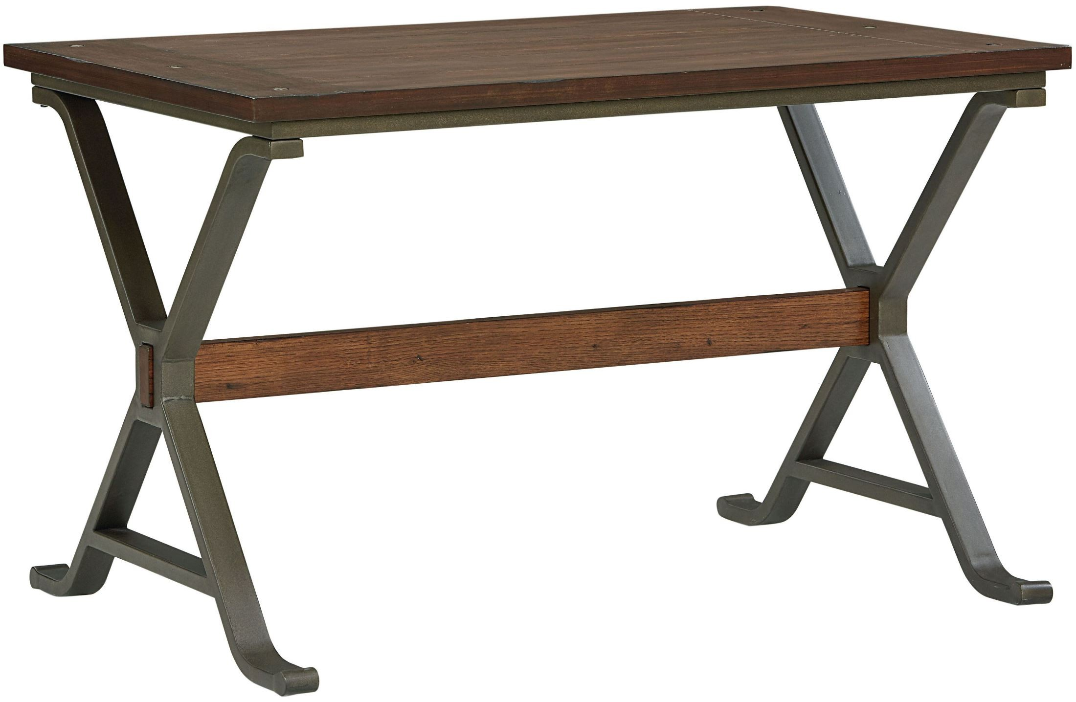 Reynolds rustic tobacco brown rectangular trestle dining for Rustic trestle dining table