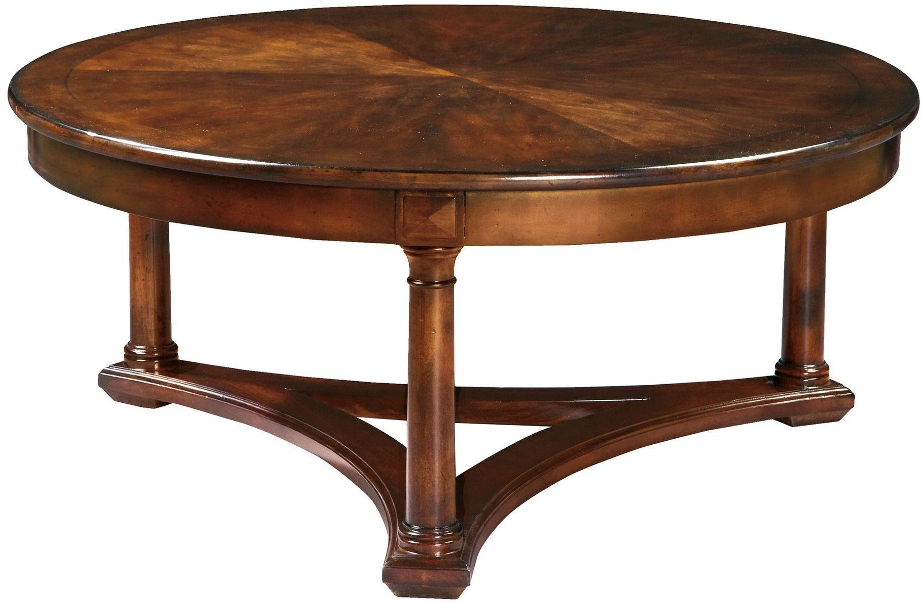 European Legacy Distressed Macadamia Round Coffee Table
